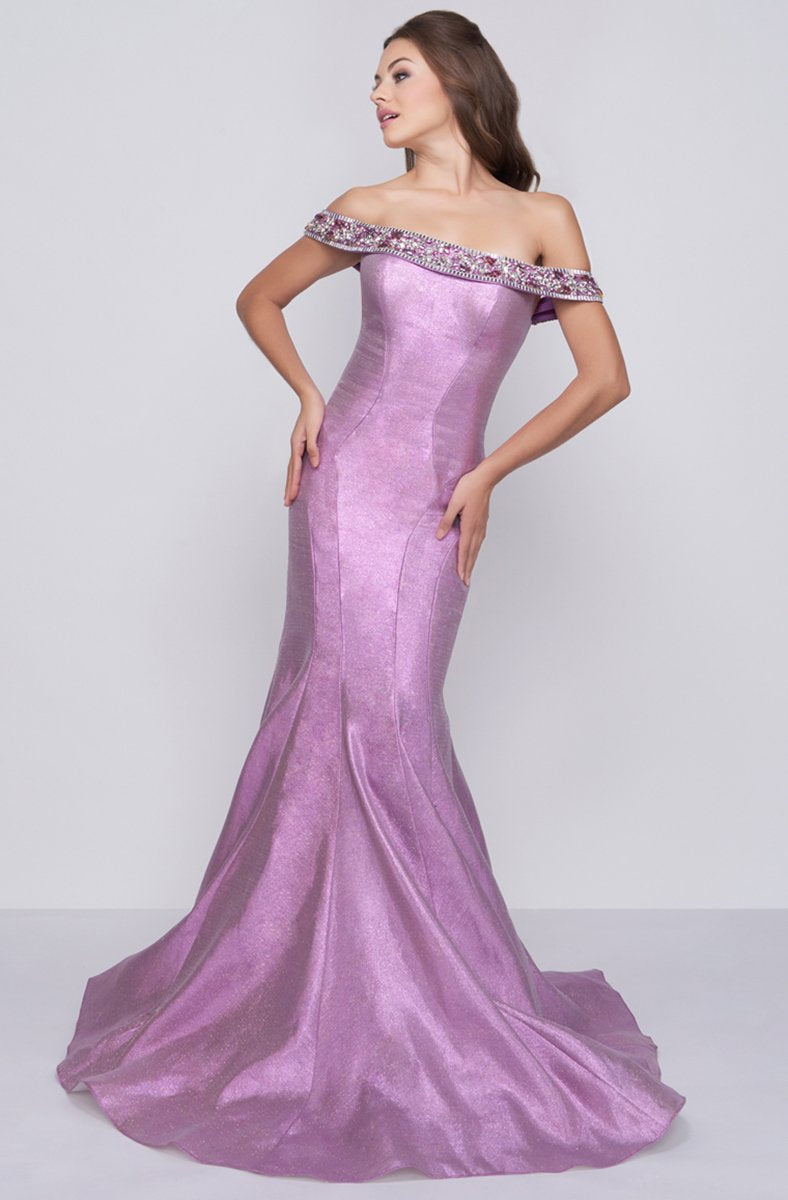 Cassandra Stone - 30577A Embellished Off Shoulder Taffeta Mermaid Gown in Purple