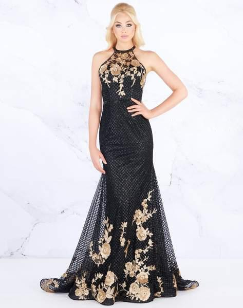 Mac Duggal Prom - 30578M Beaded Halter Strappy Back Embellished Gown In Black and Gold