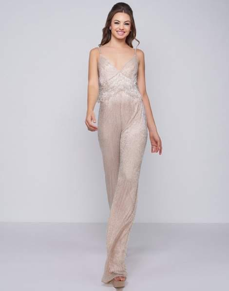 Mac Duggal Black White Red - 4742R Shimmery Plunging V-neck Jumpsuit In Nude