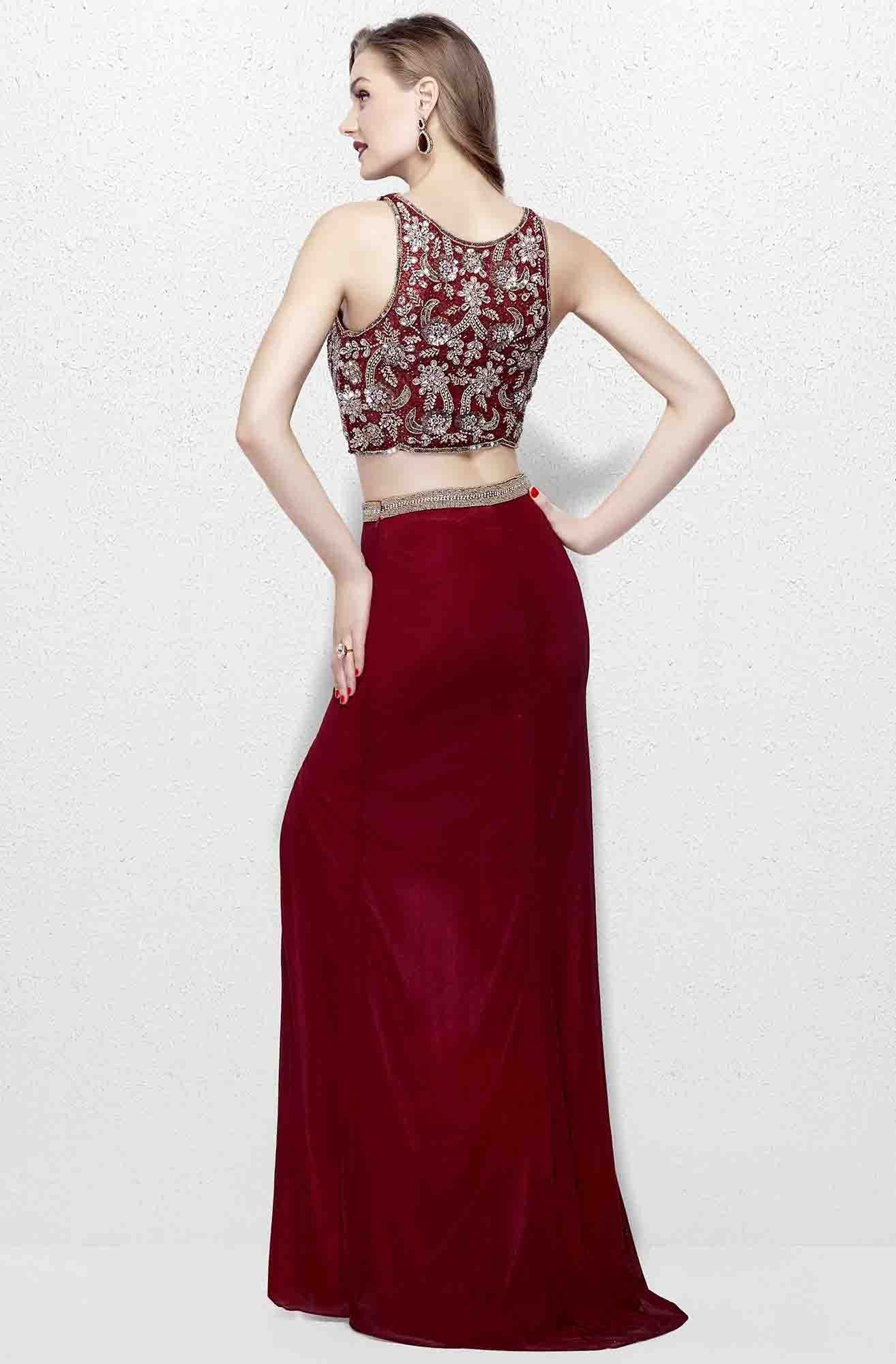Primavera - 3063 Two-Piece Beaded Bateau Evening Gown in Red