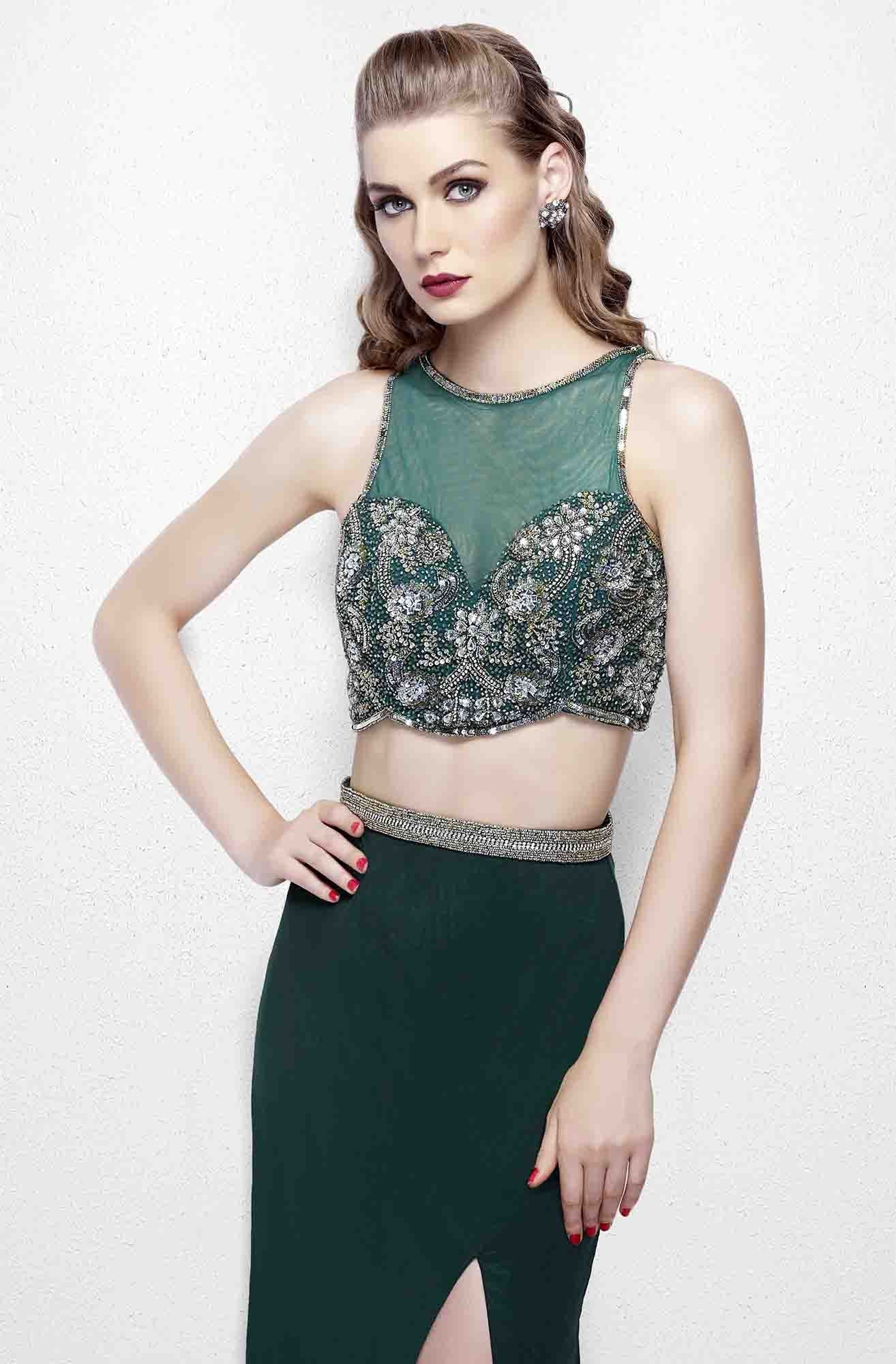 Primavera - 3063 Two-Piece Beaded Bateau Evening Gown in Green