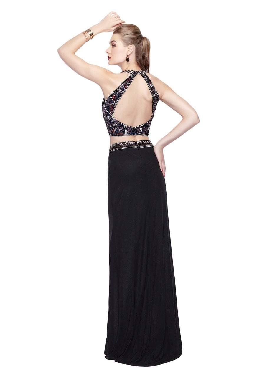 Primavera - 3064 Glittering Two-Piece Halter Evening Gown in Black