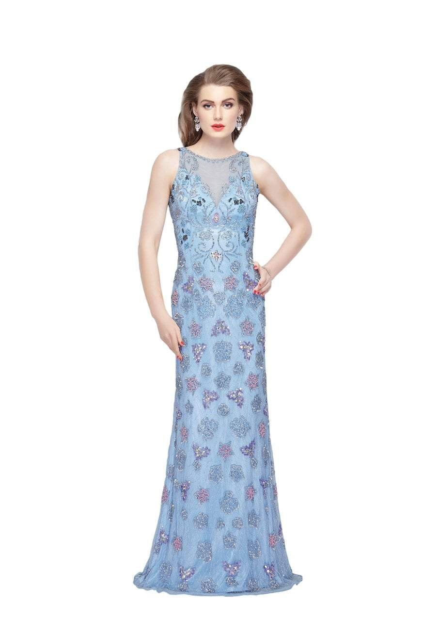 Primavera - 3067 Shimmering Embellishment Sheath Gown in Blue and Multi-Color