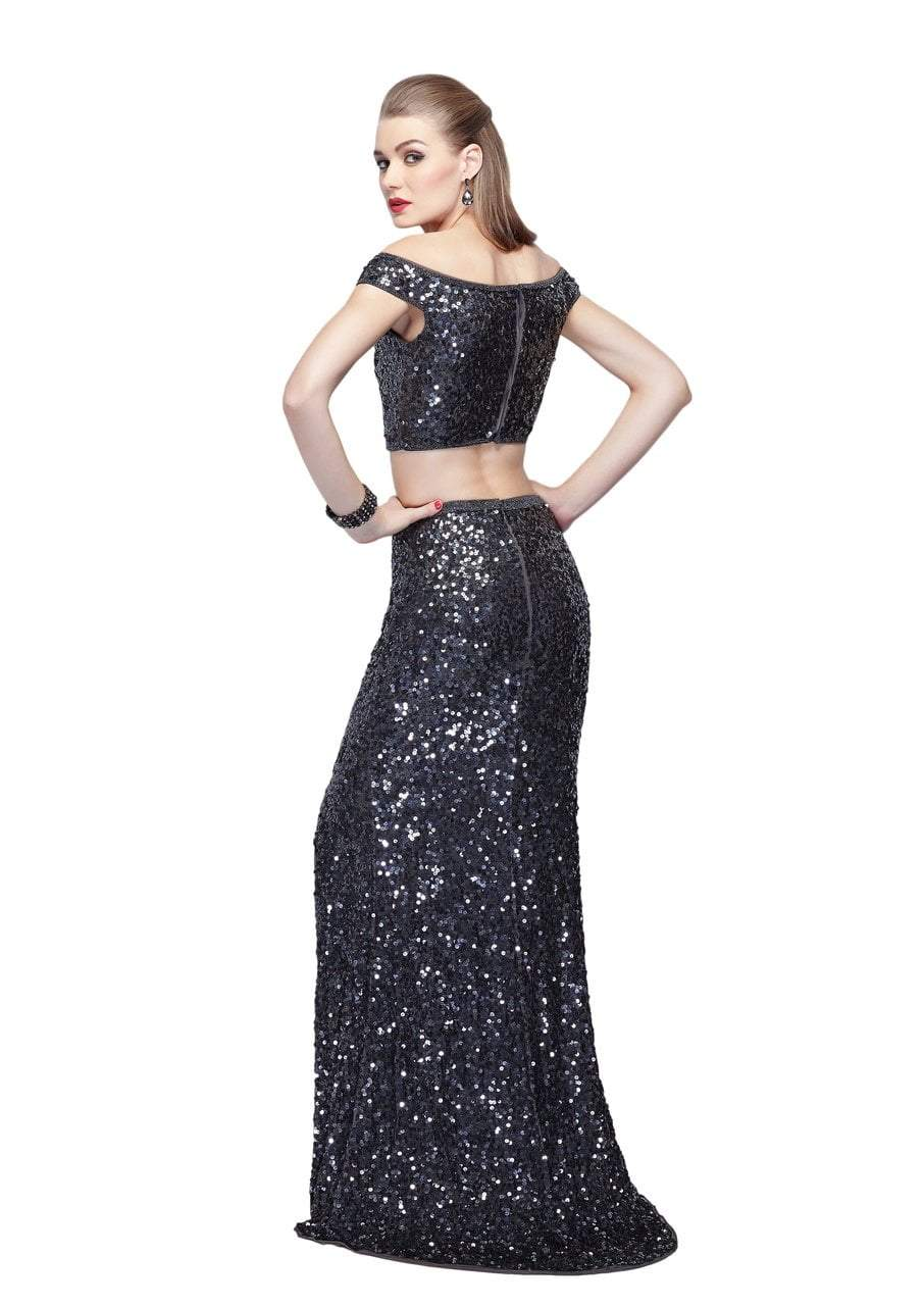 Primavera Couture - 3095 Off-Shoulder Two-Piece Sequined Gown in Gray