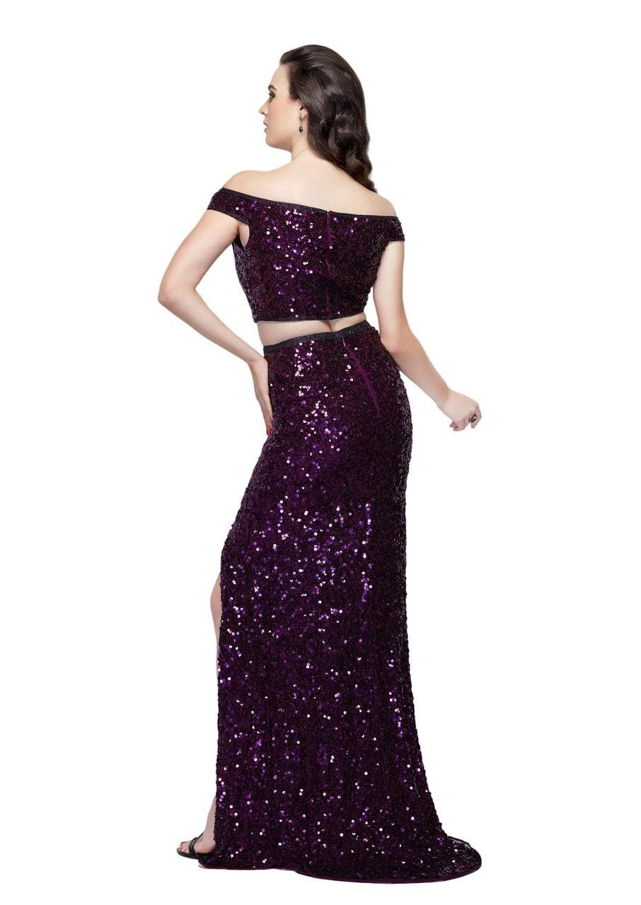 Primavera Couture - 3095 Off-Shoulder Two-Piece Sequined Gown in Purple