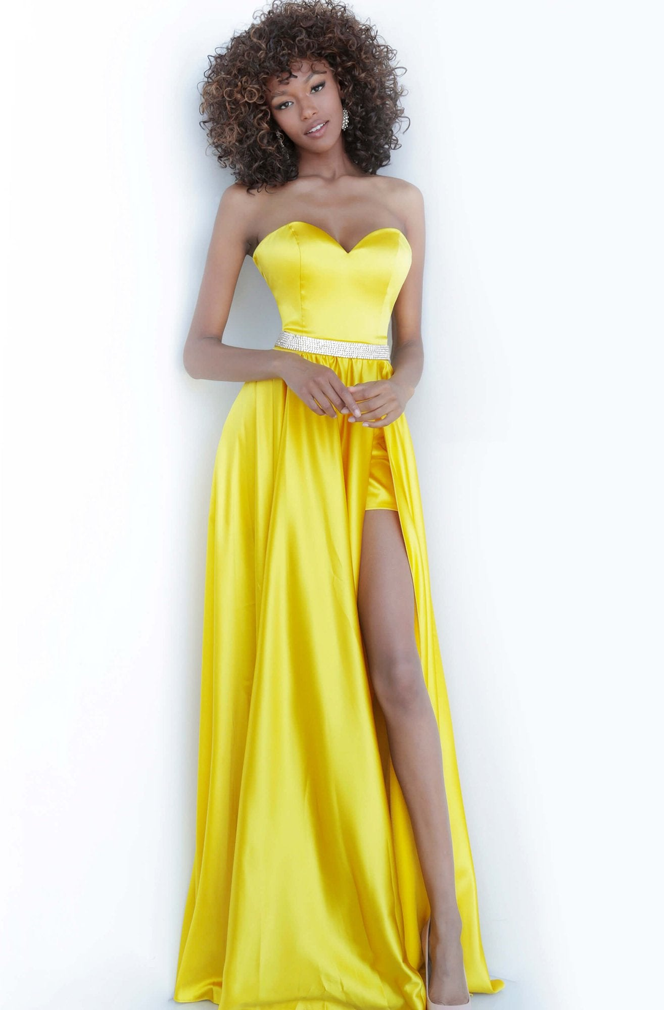 Jovani - 3106 Satin Strapless Sweetheart Neckline High Slit Prom Gown In Yellow