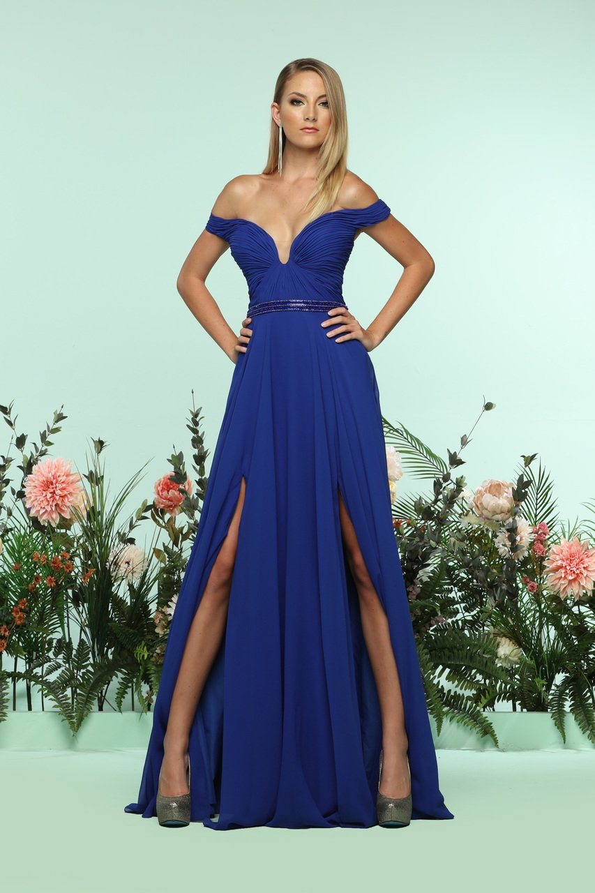 Ruched Off-Shoulder Chiffon A-line Dress 31170 in Royal