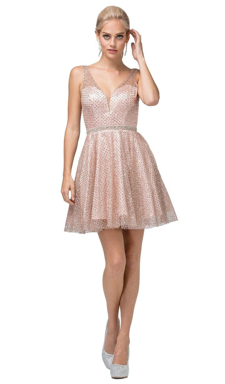 Dancing Queen - Embellished Deep V-neck A-line Dress 3126 In Pink and Gold
