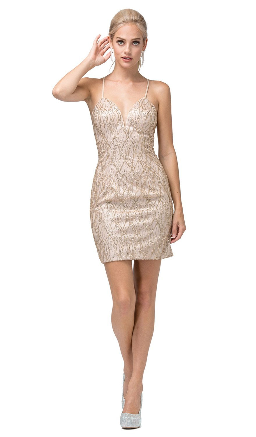 Dancing Queen - 3128SC Sleeveless Bodycon Shimmer Cocktail Dress