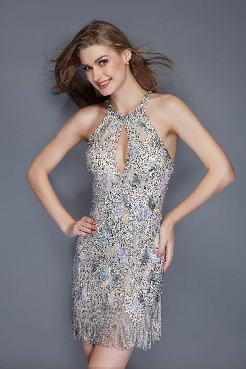 Primavera Couture - 3133 Sequined Halter Neck Fitted Dress in Neutral
