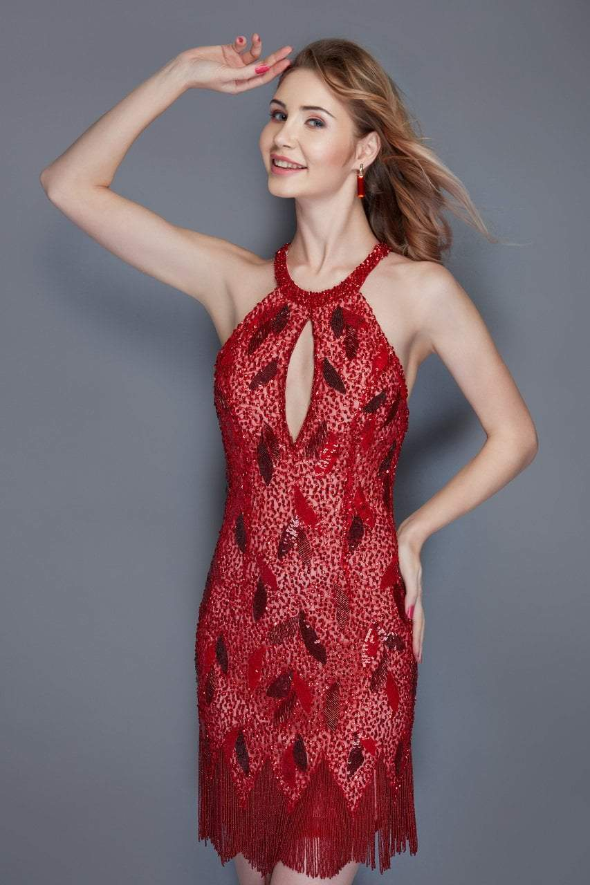 Primavera Couture - 3133 Sequined Halter Neck Fitted Dress in Red