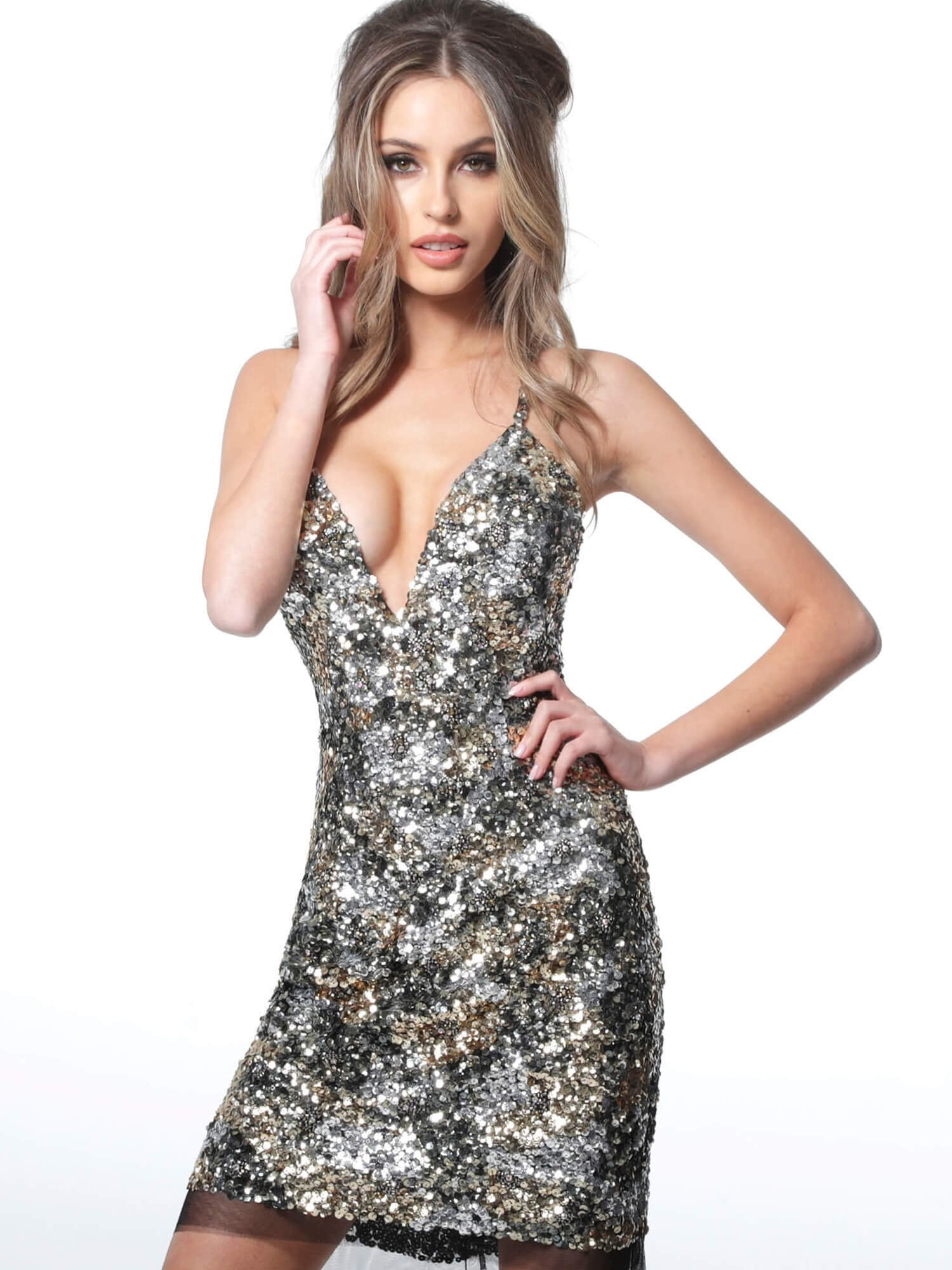 Jovani - Sequin-Textured Low V-Neck Sheath Dress 3151SC In Multi-Color