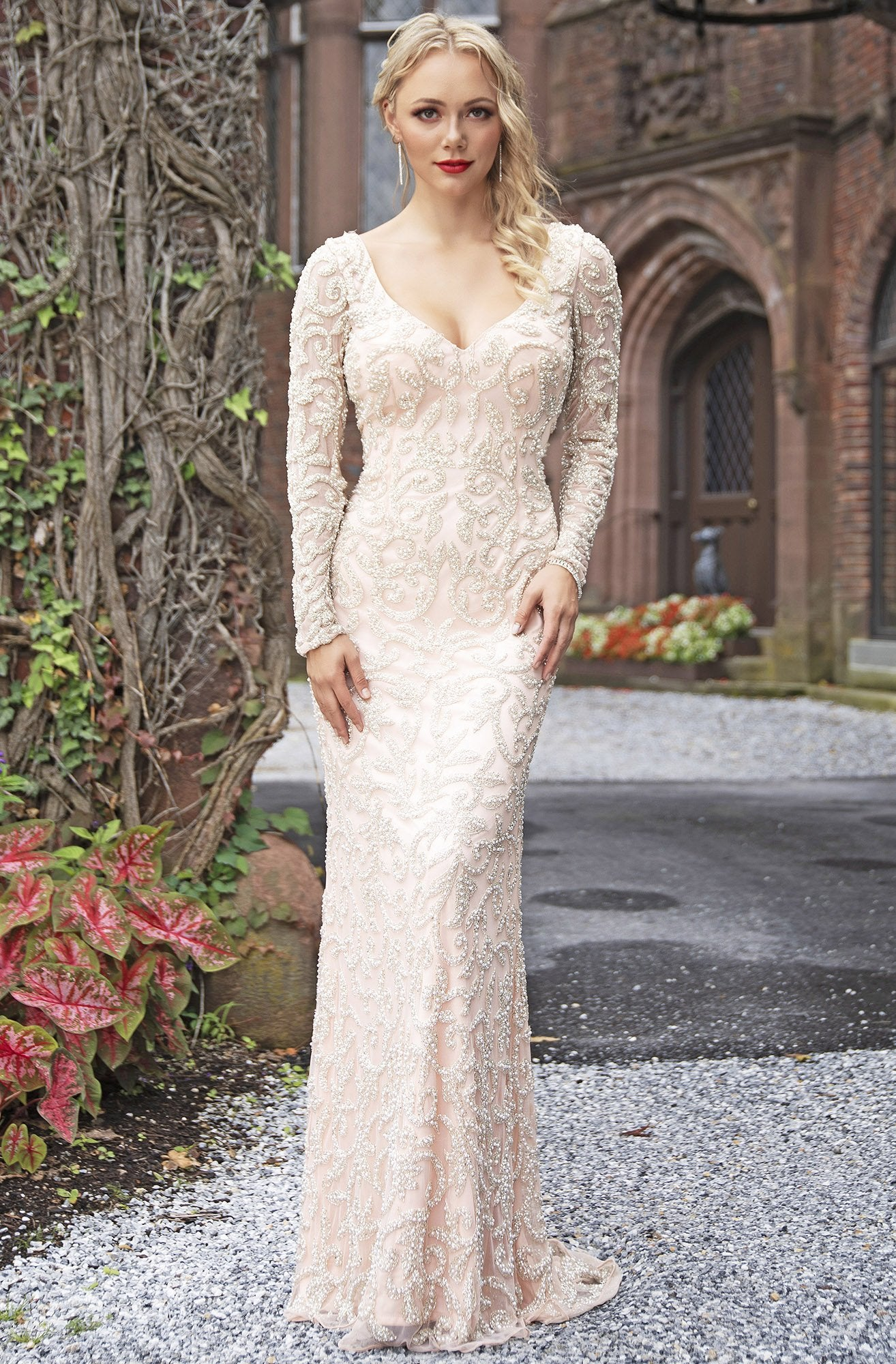Primavera Couture - 3173 Scroll Motif Beaded Long Sleeve Sheath Gown In Pink and Silver