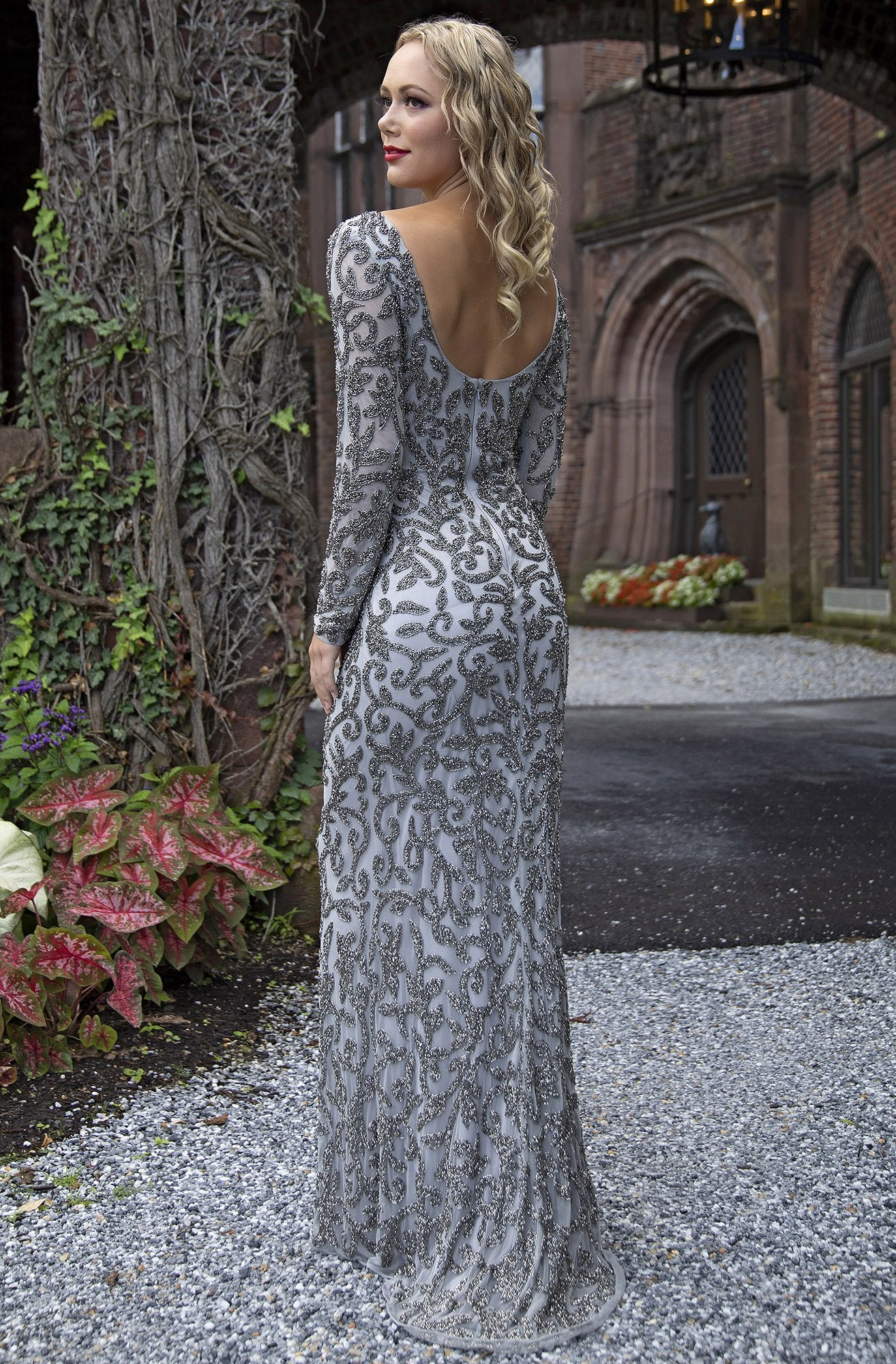 Primavera Couture - 3173 Scroll Motif Beaded Long Sleeve Sheath Gown In Silver and Gray