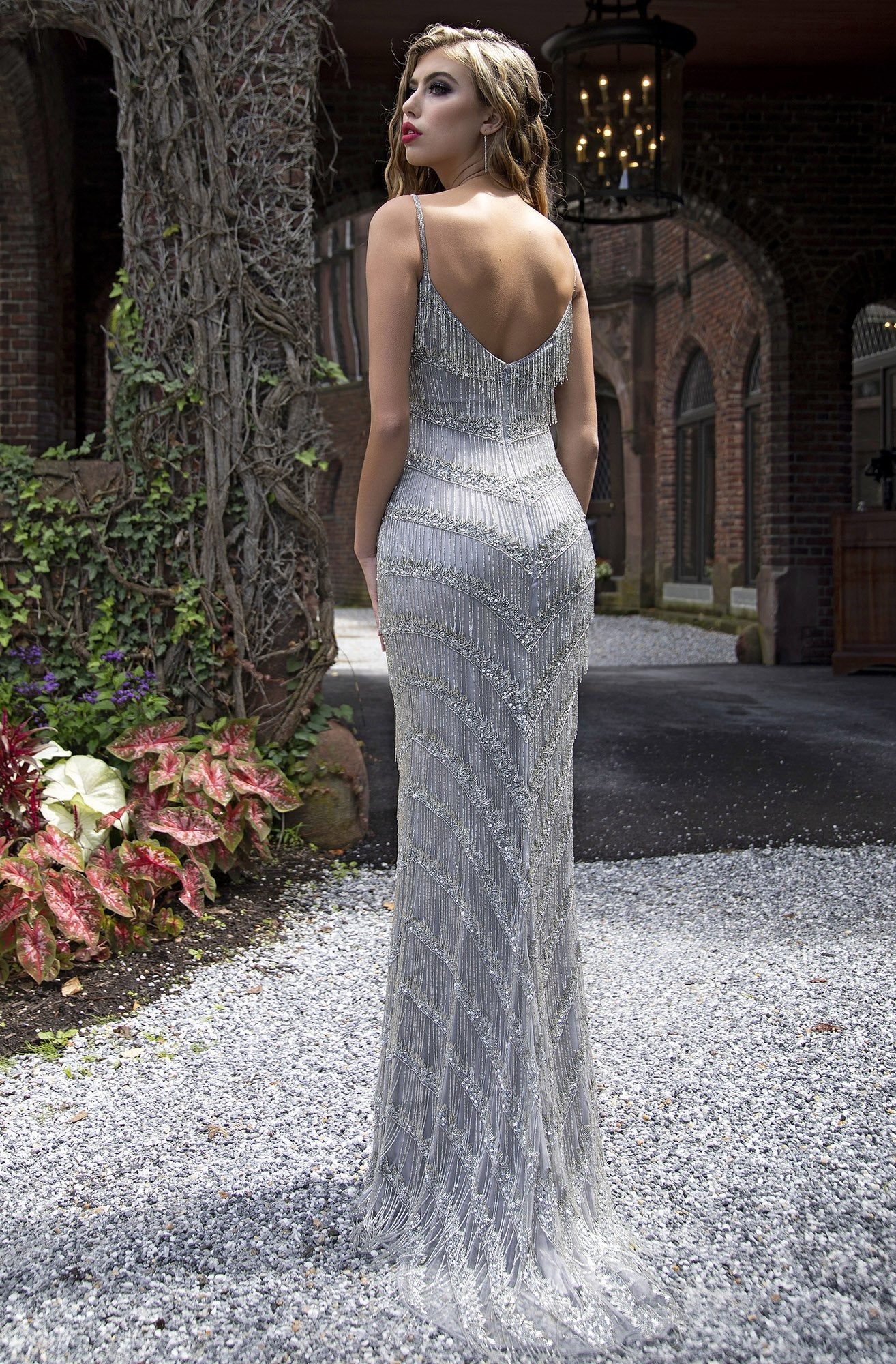 Primavera Couture - 3174 Fringed V-Neck Sheath Evening Gown In Gray