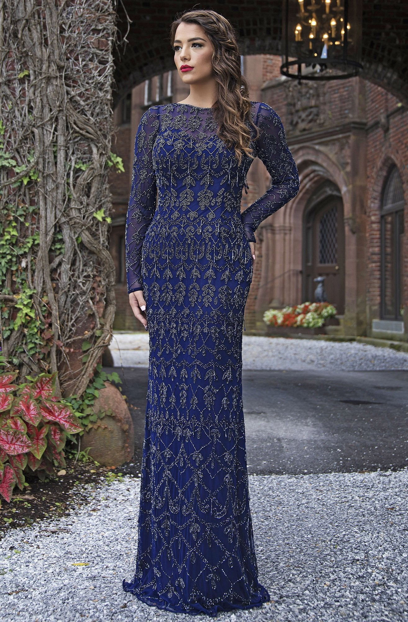 Primavera Couture - 3181 Sequined Long Sleeves Sheath Gown In Blue