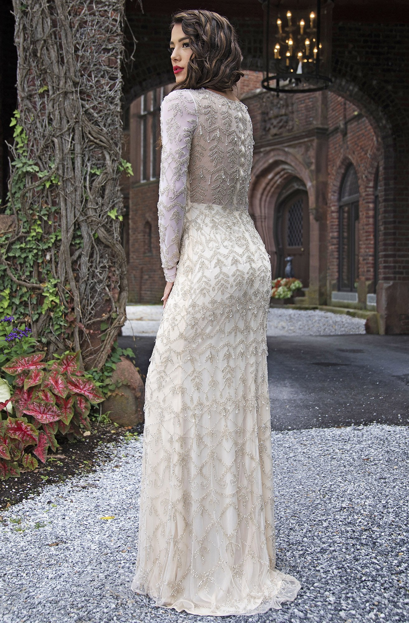 Primavera Couture - 3181 Sequined Long Sleeves Sheath Gown In Nude and Silver