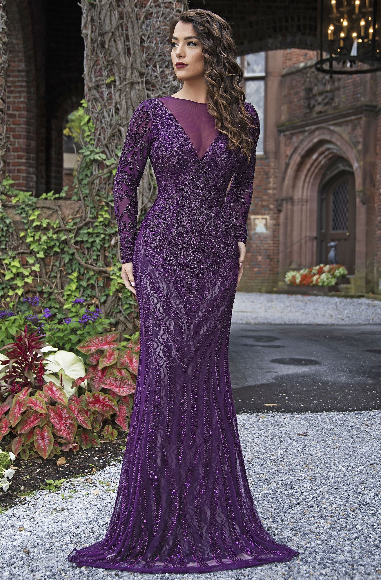 Primavera Couture - 3192 Sequined Long Sleeves Sheath Gown In Purple