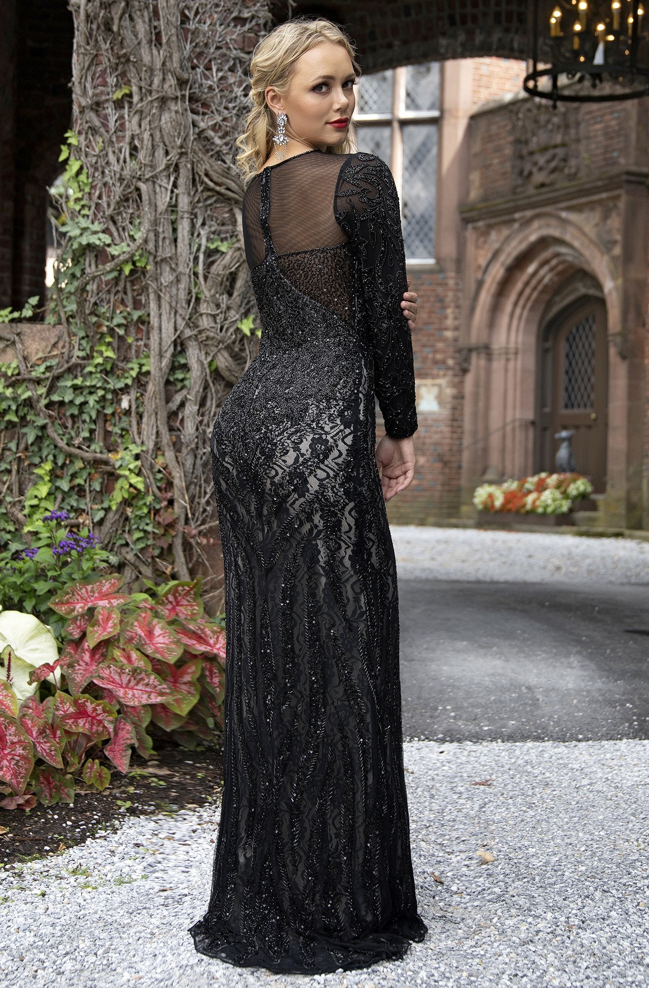 Primavera Couture - 3192 Sequined Long Sleeves Sheath Gown In Black