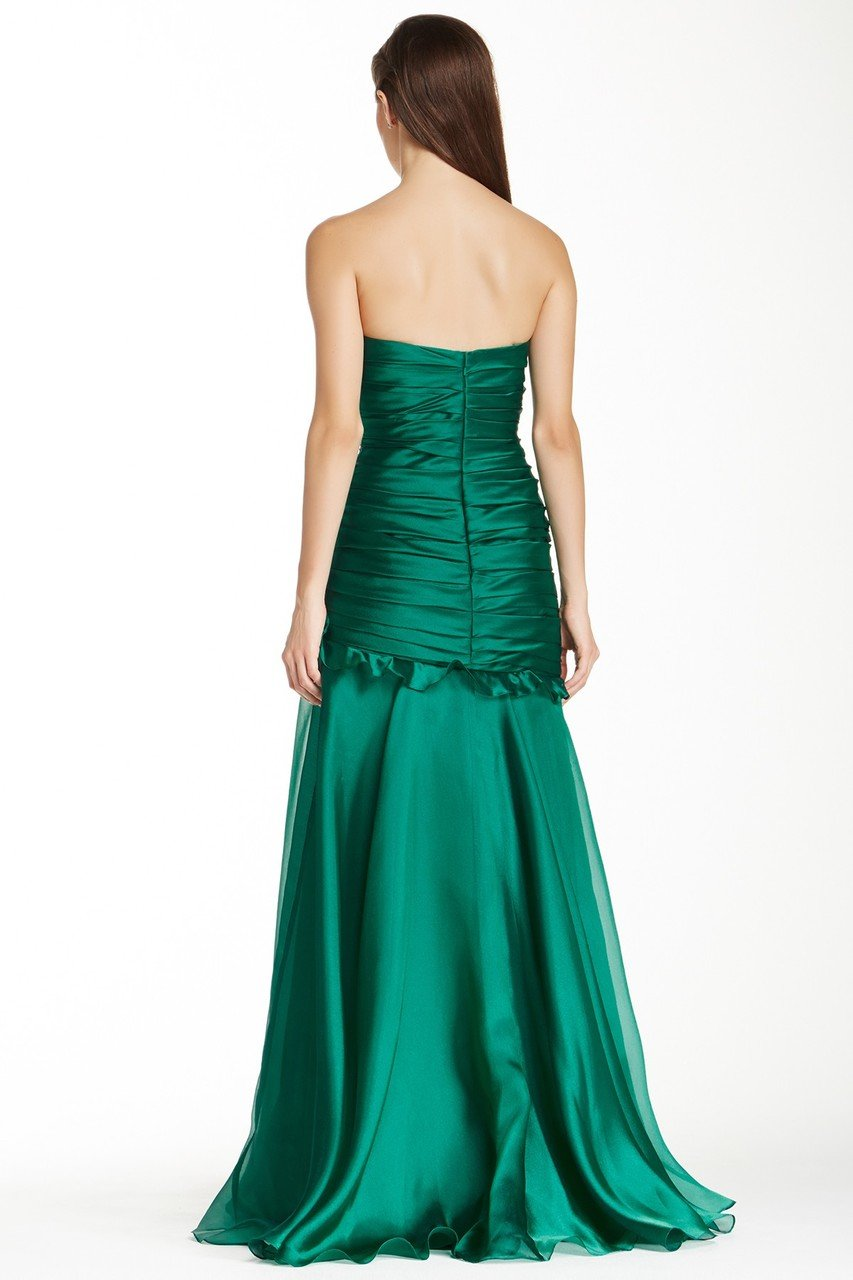 Theia - 881527 Strapless Rosette Detail Pleated Organza Gown in Green