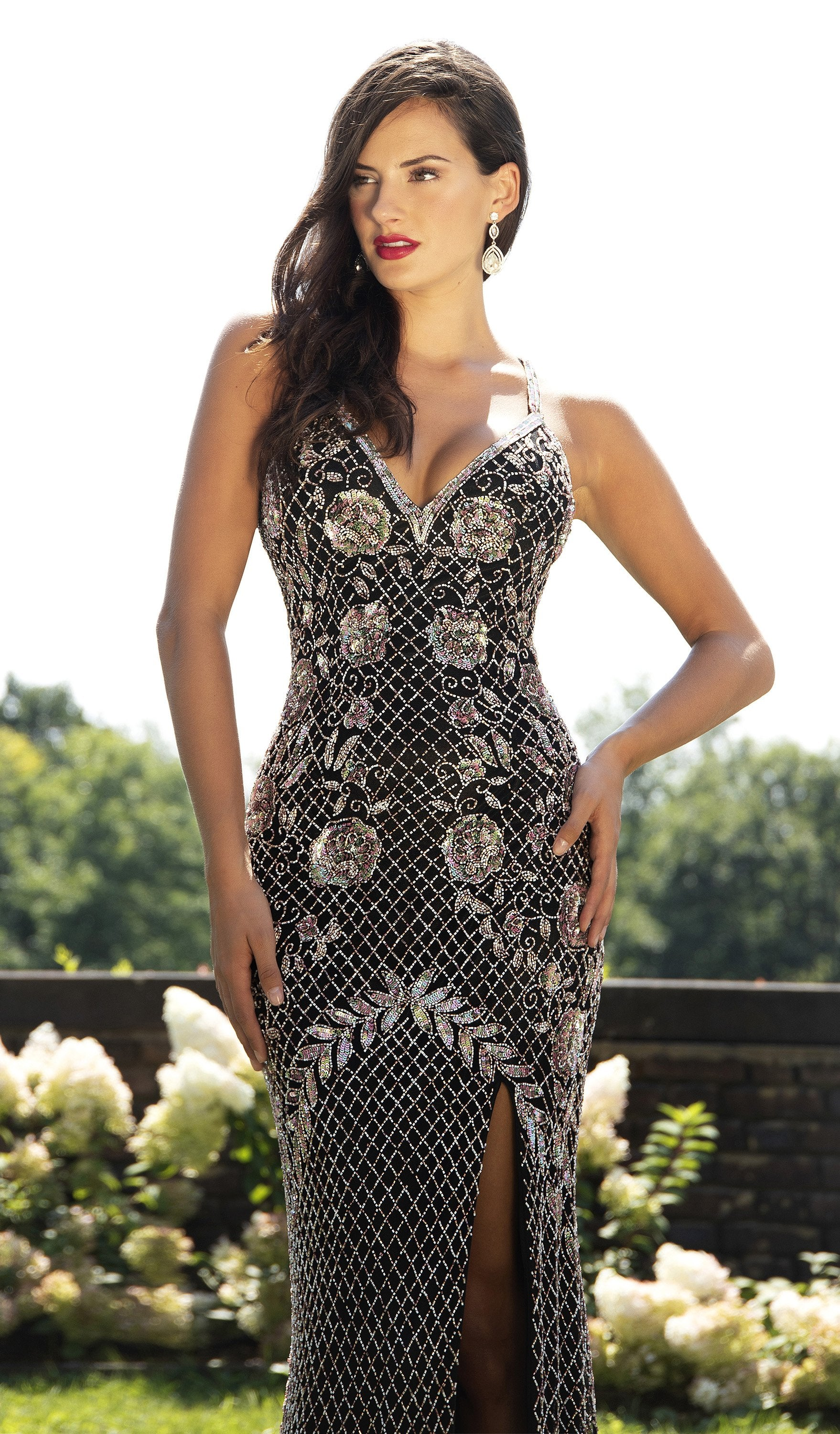 Primavera Couture - 3202 Embellished Plunging V-neck Trumpet Dress In Black and Multi-Color