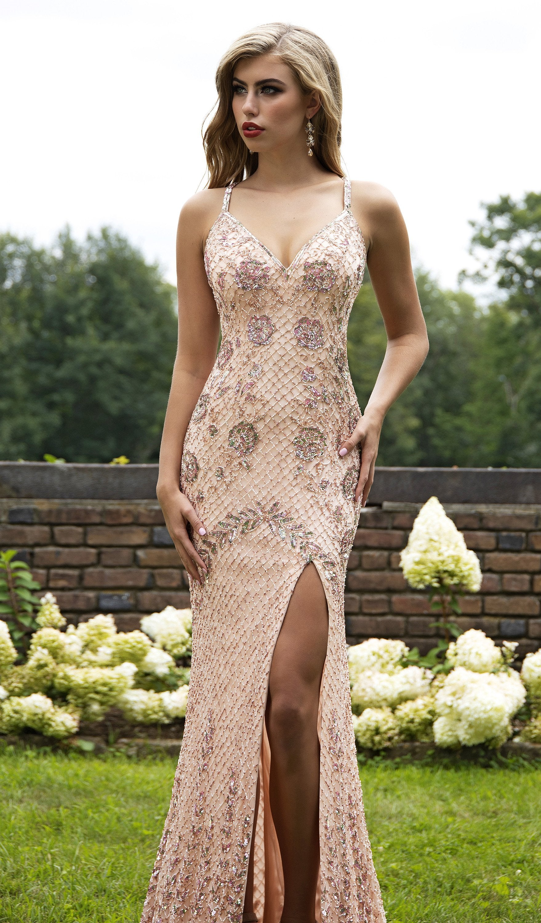 Primavera Couture - 3202 Embellished Plunging V-neck Trumpet Dress In Pink