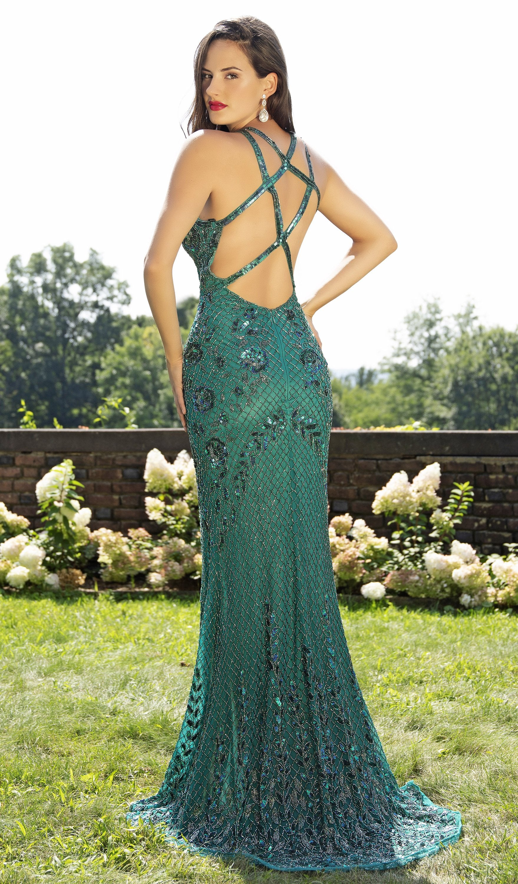 Primavera Couture - 3202 Embellished Plunging V-neck Trumpet Dress In Green