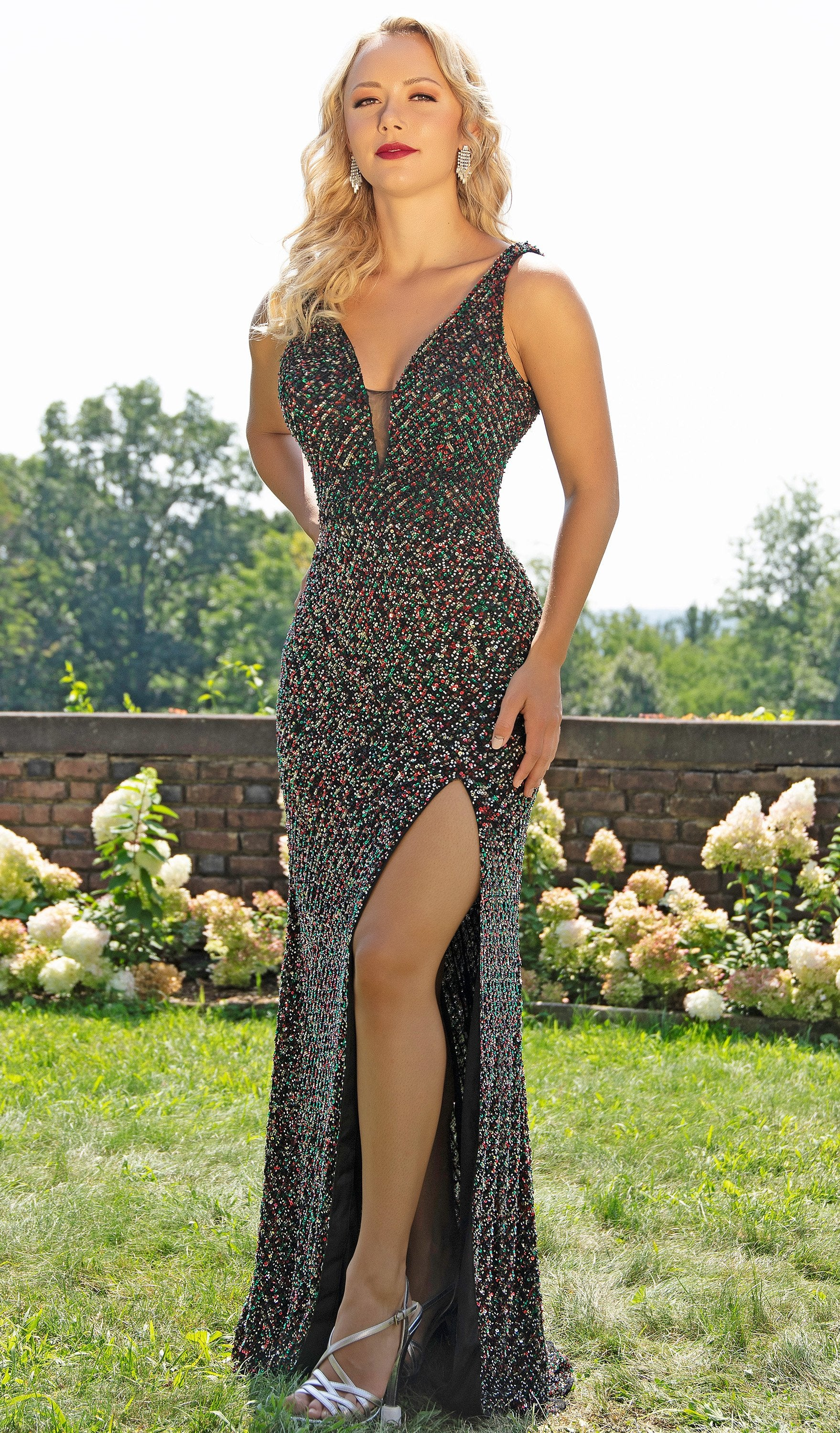 Primavera Couture - 3205 Sequin Embellished Plunging V Neck Gown In Black and Multi-Color