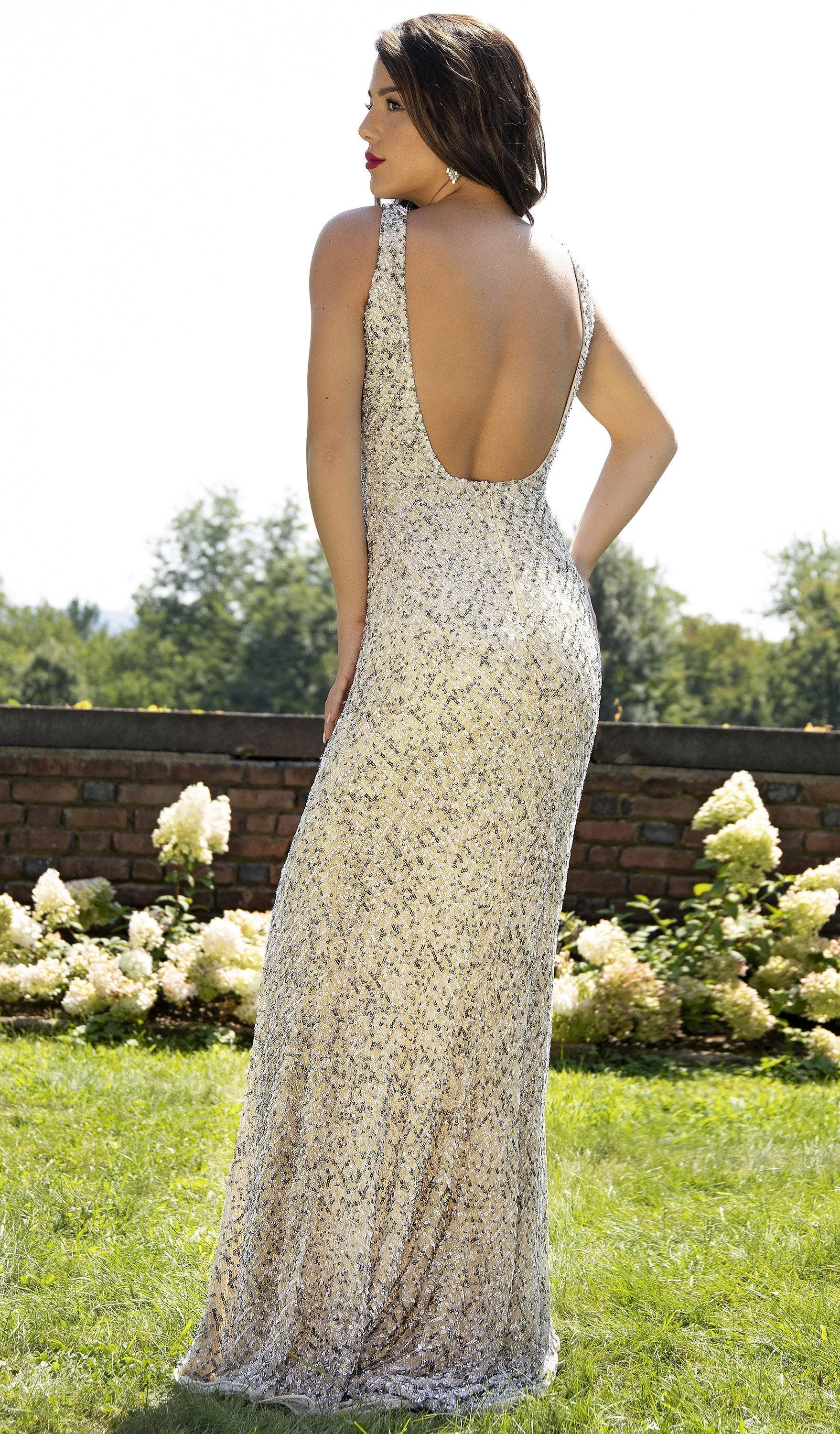 Primavera Couture - 3205 Sequin Embellished Plunging V Neck Gown In White