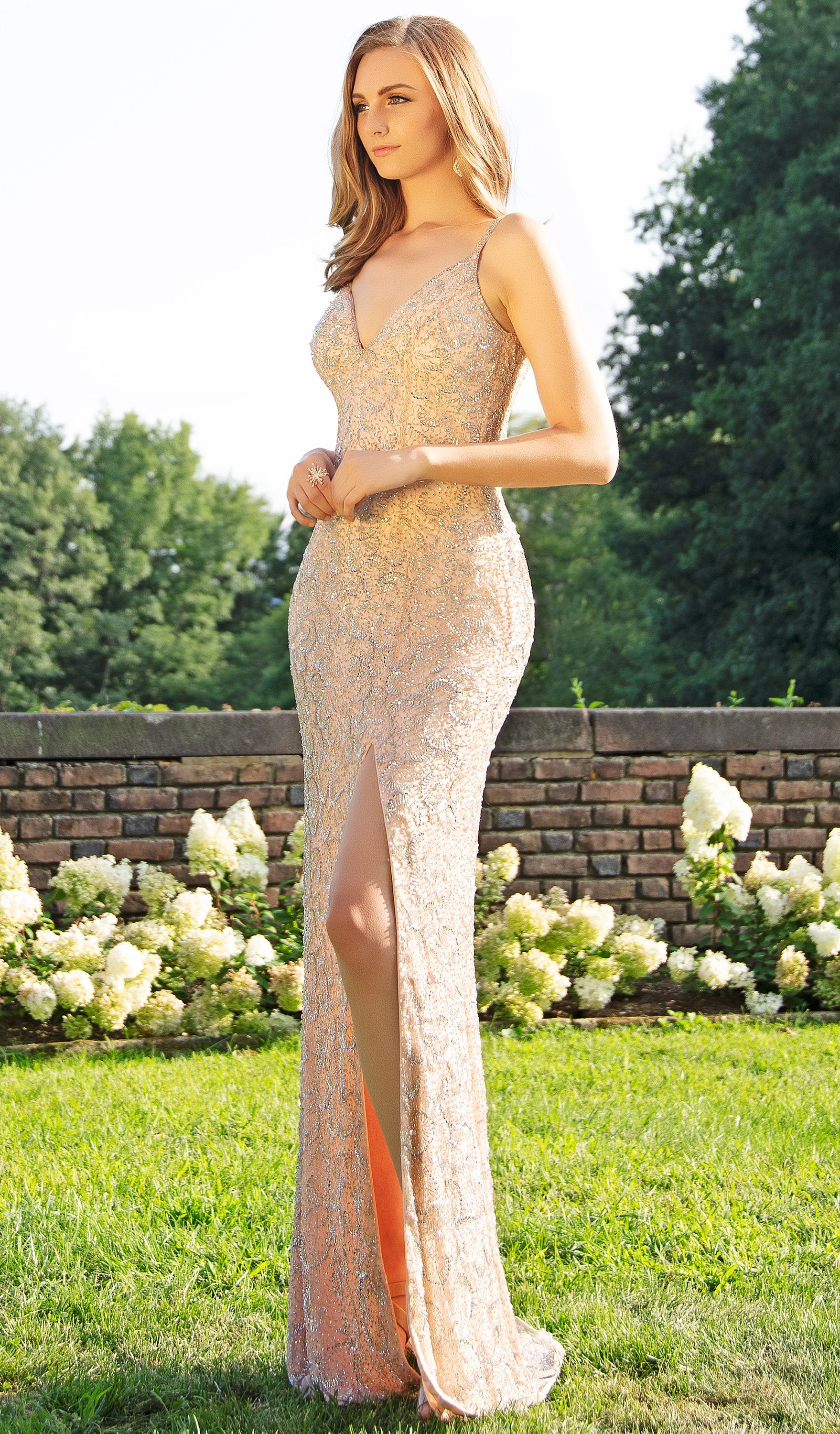 Primavera Couture - 3209 Sequined Embellished Plunging V Neck Gown In Pink and Silver