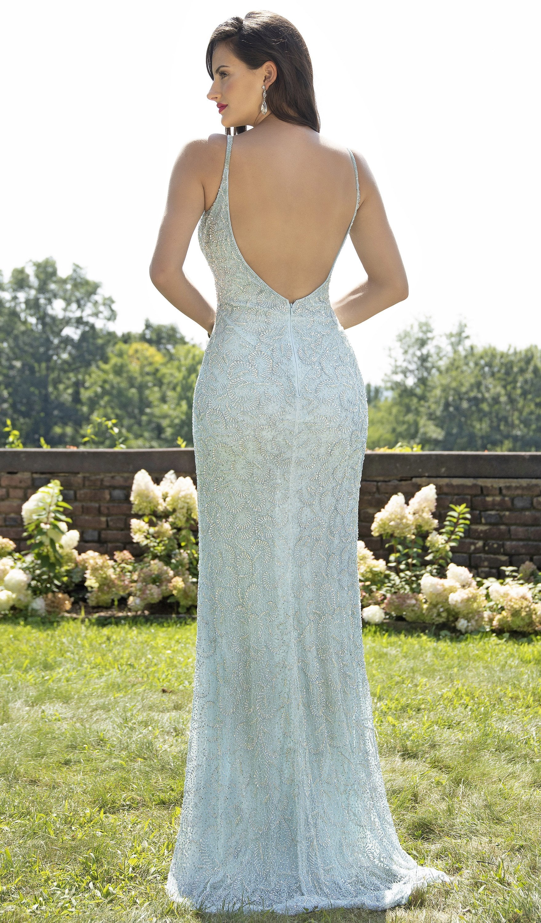 Primavera Couture - 3209 Sequined Embellished Plunging V Neck Gown In Blue