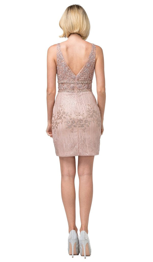 Dancing Queen - 3210 Beaded Sleeveless V Neck Cocktail Dress In Pink and Gold