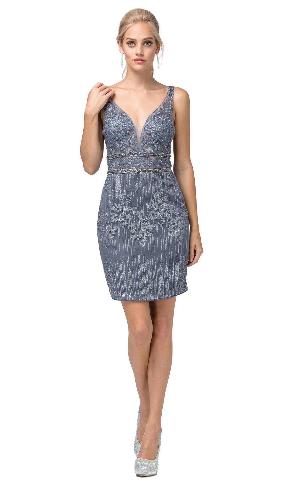 Dancing Queen - 3210 Embroidered Deep V-neck Fitted Dress In Blue