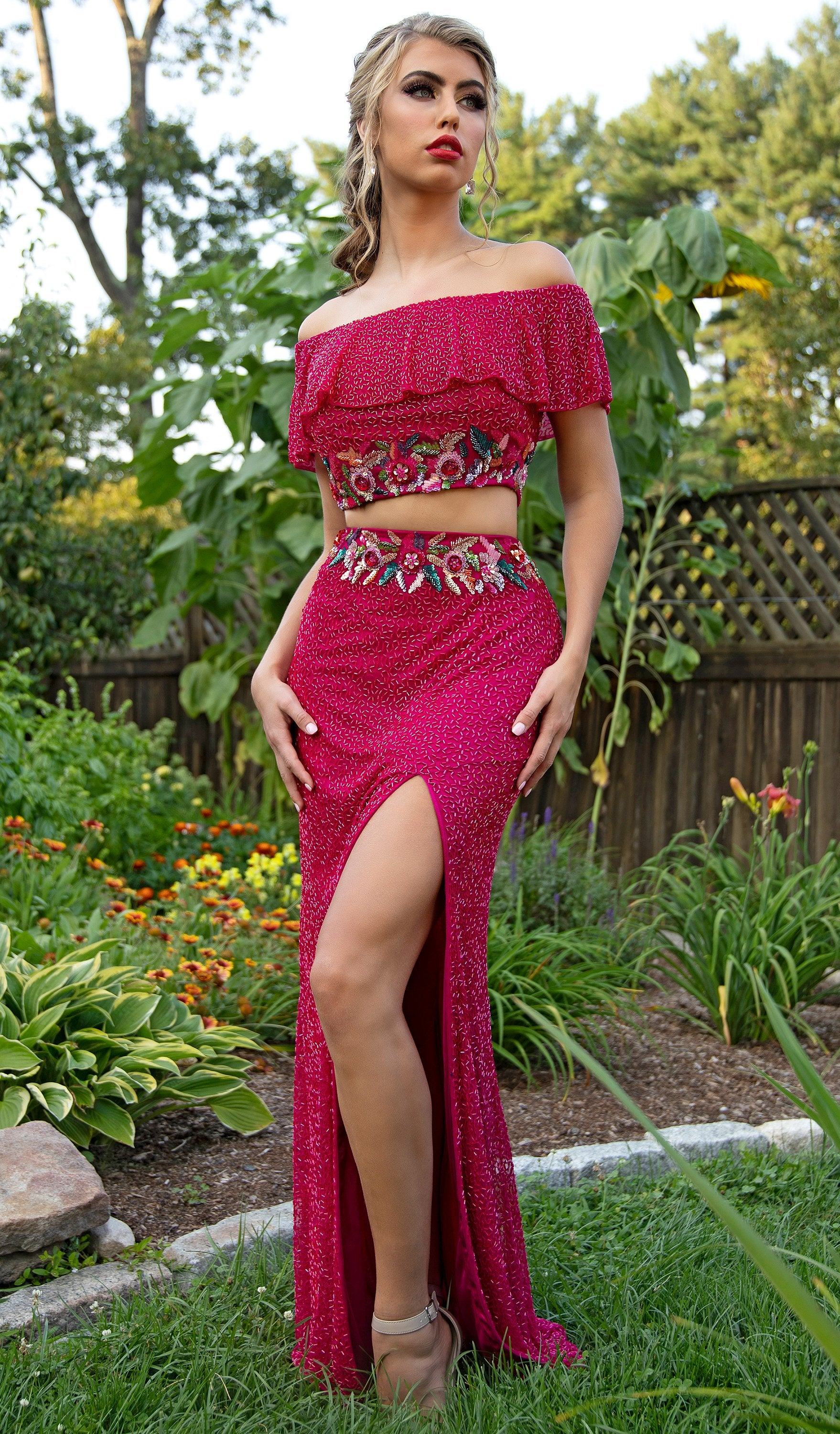 Primavera Couture - 3215 Two-Piece Floral Sequined Off Shoulder Gown In Red