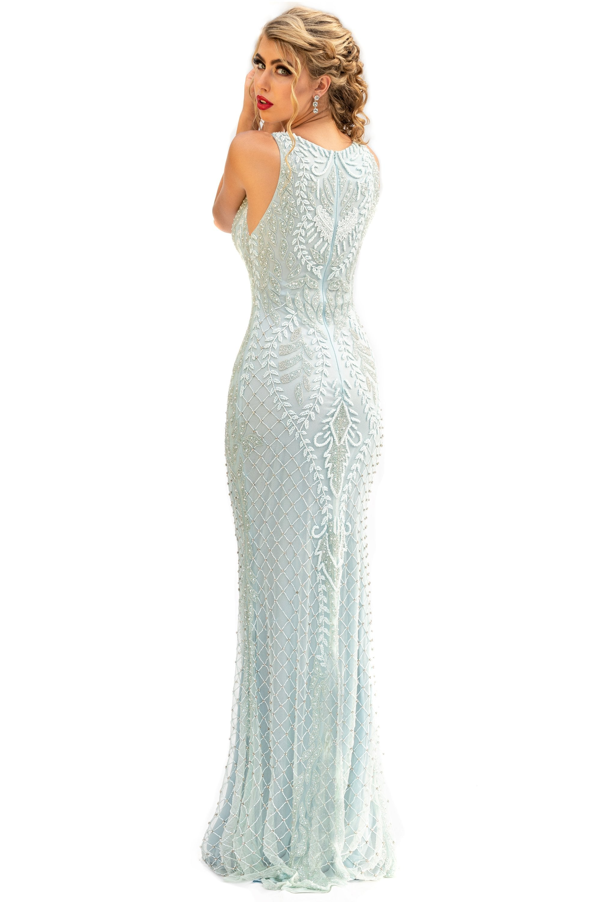 Primavera Couture - 3227 Jewel Neck Intricate Beaded Sheath Gown In Blue
