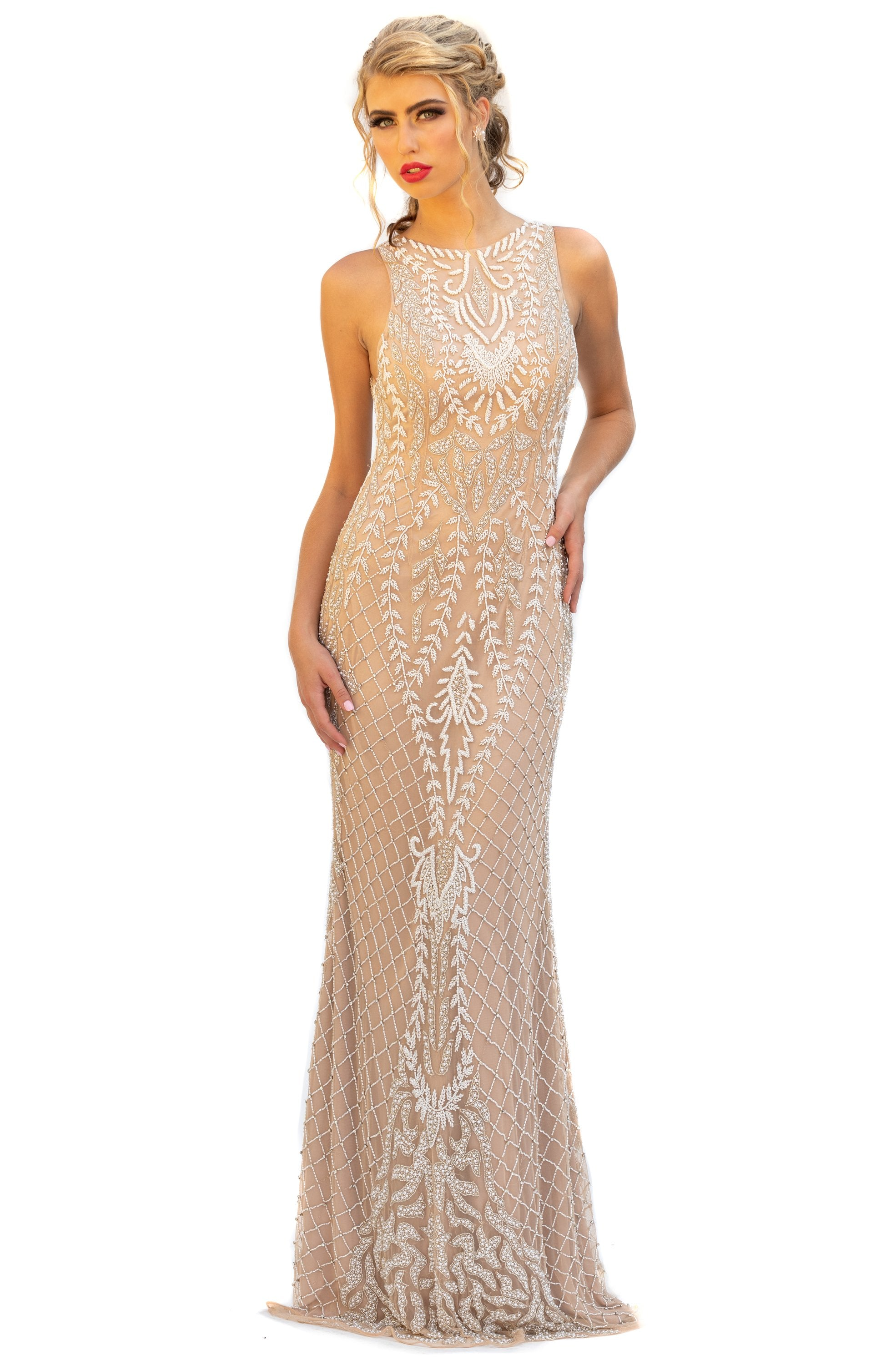 Primavera Couture - 3227 Jewel Neck Intricate Beaded Sheath Gown In Neutral