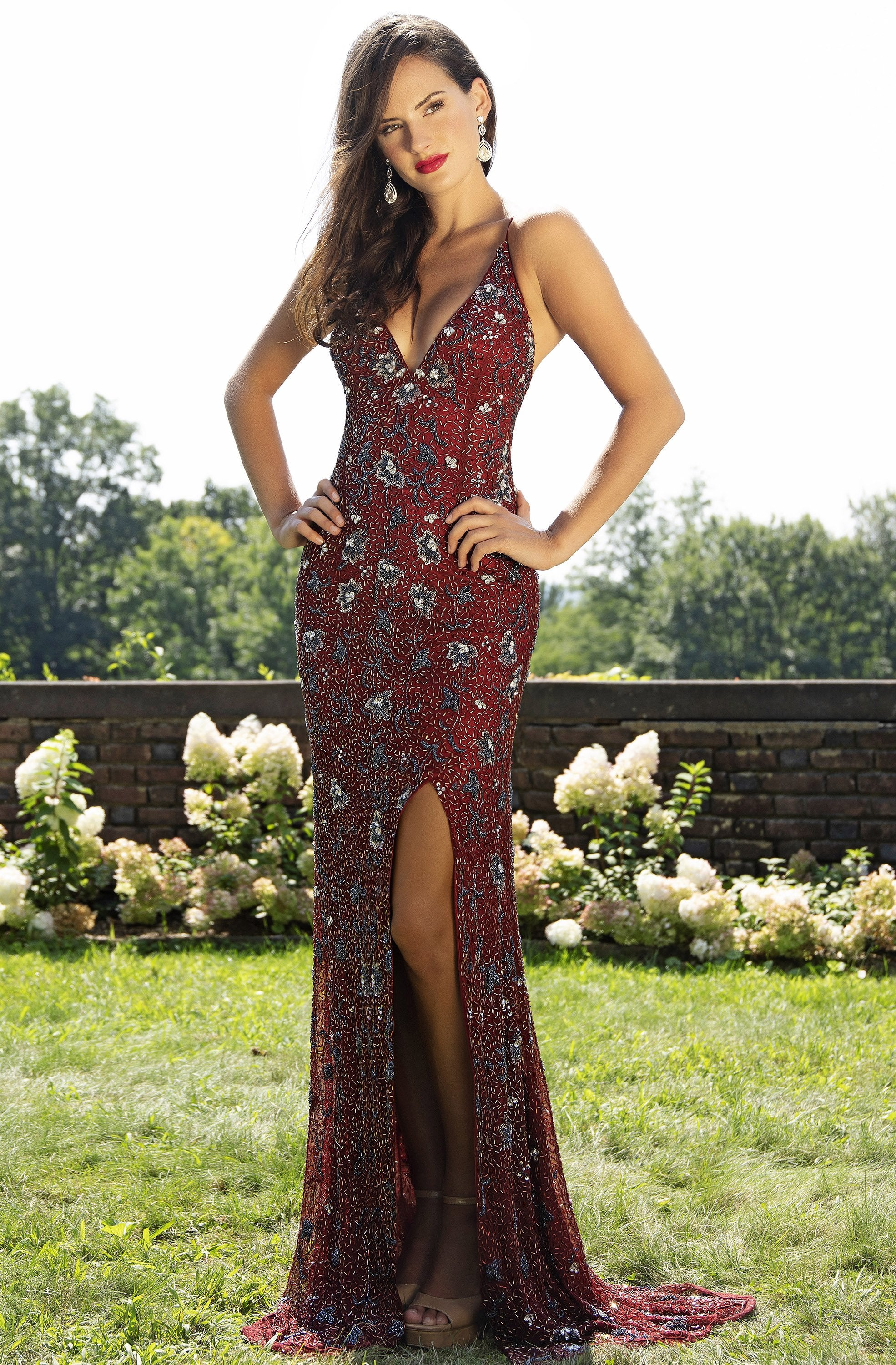 Primavera Couture - 3229 Floral Beaded High Slit Long Gown In Red
