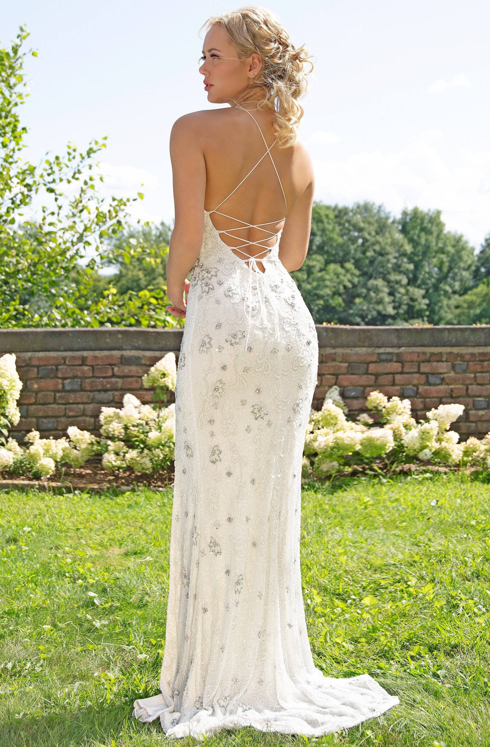 Primavera Couture - 3229 Floral Beaded High Slit Long Gown In White