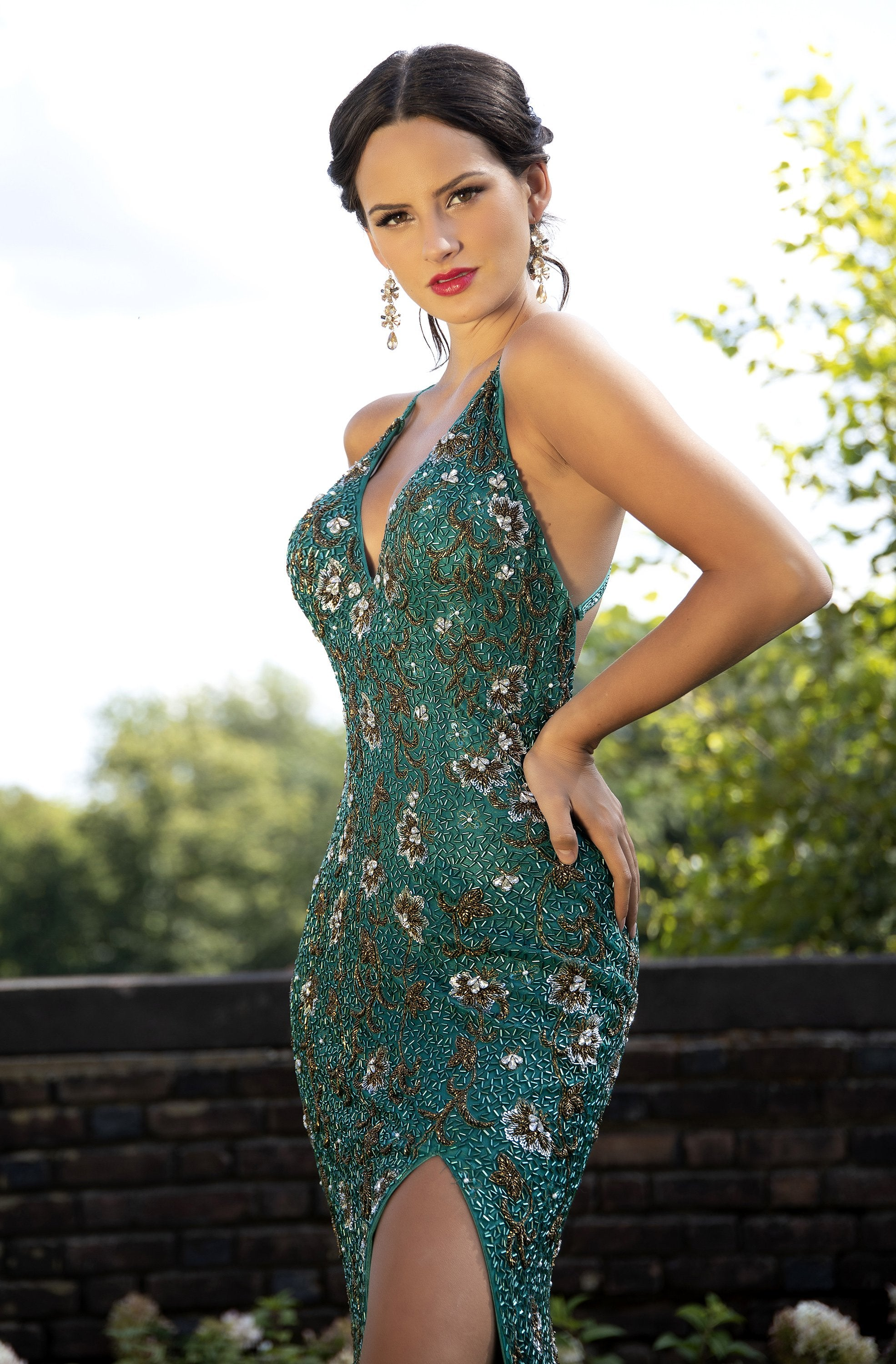 Primavera Couture - 3229 Floral Beaded High Slit Long Gown In Blue and Green