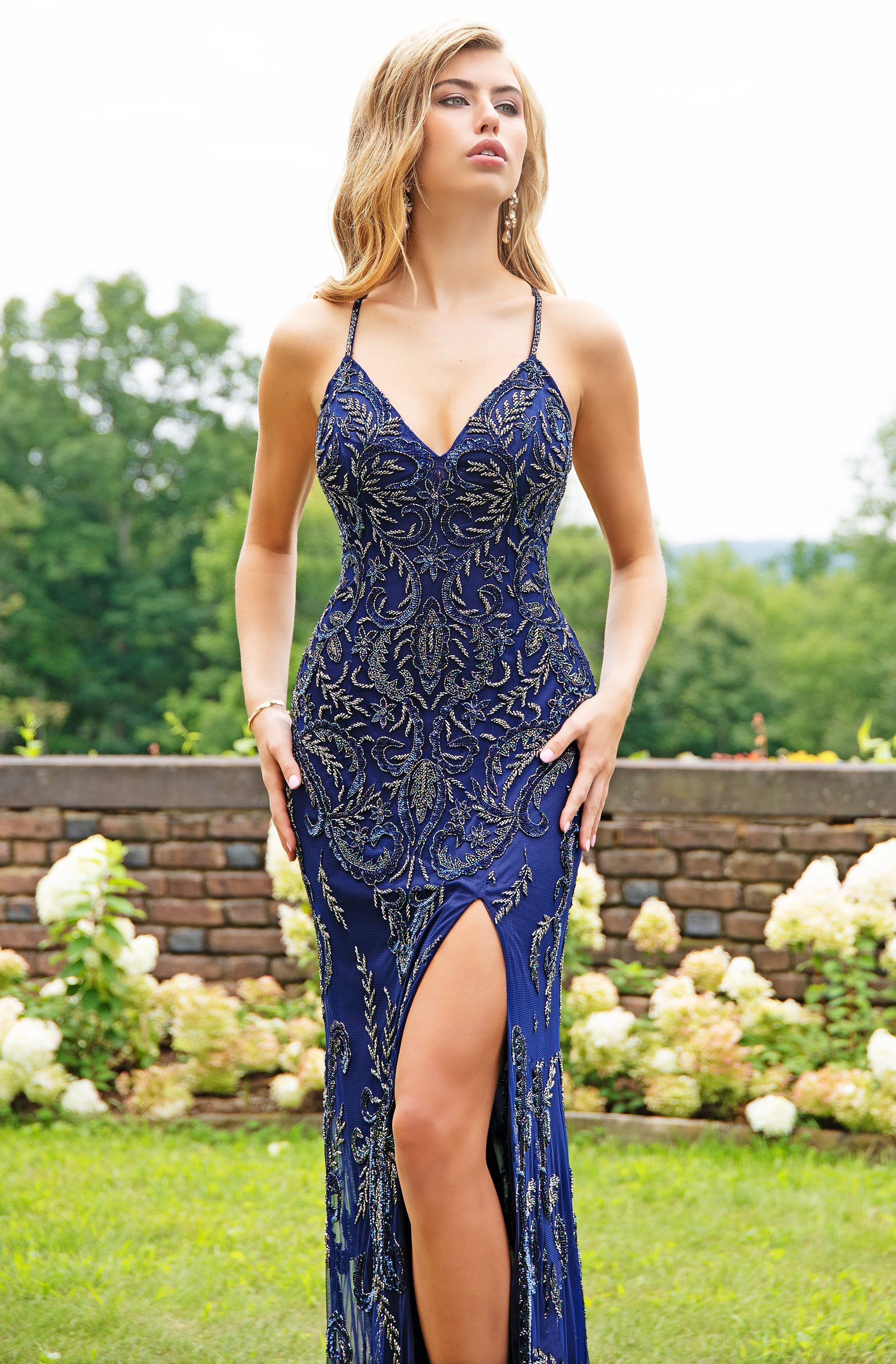 Primavera Couture - 3233 Embellished Vneck Sheath Dress With Open Back In Blue