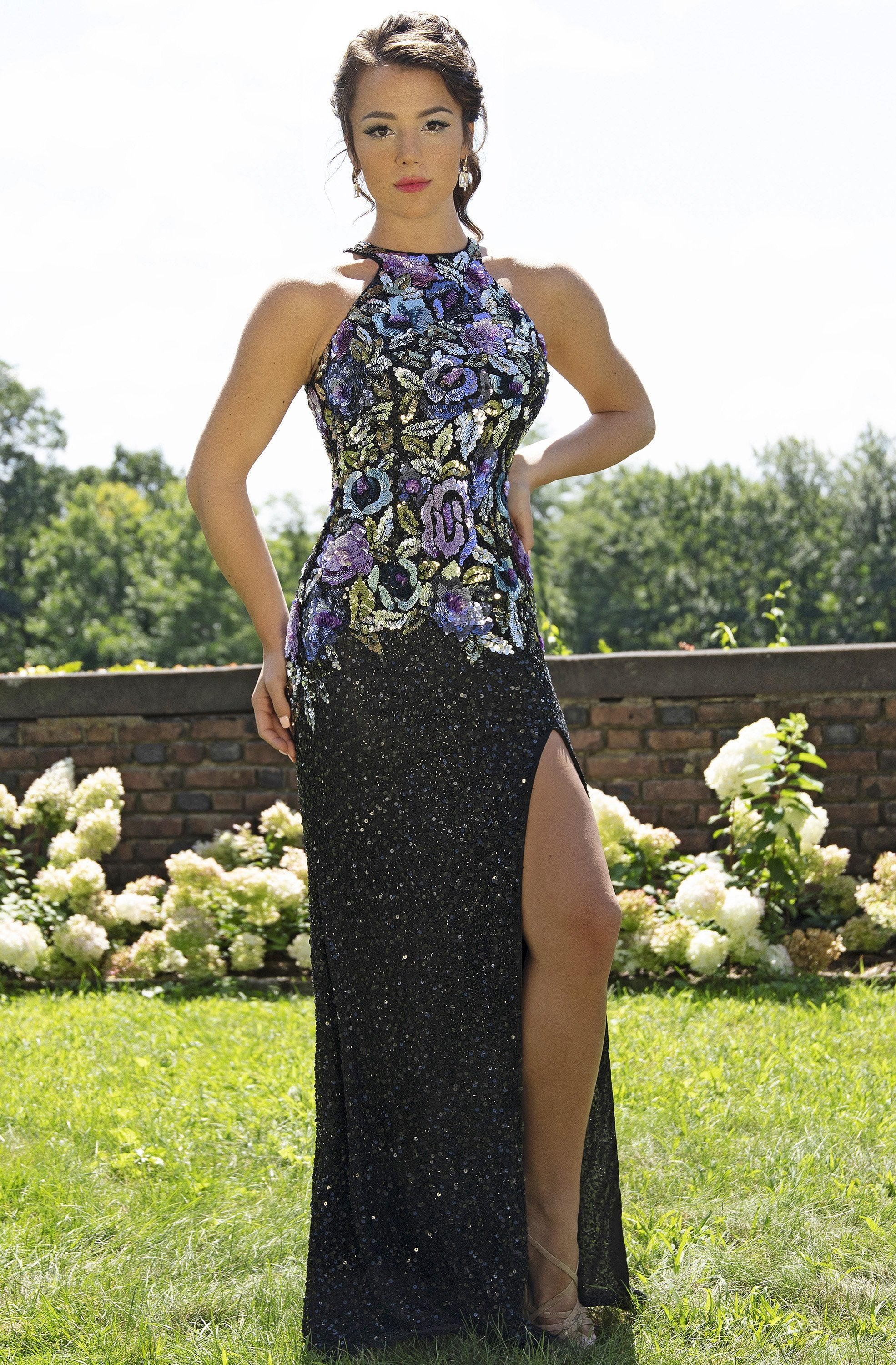 Primavera Couture - 3240 Sequined Halter Sheath Dress With Train In Black and Multi-Color