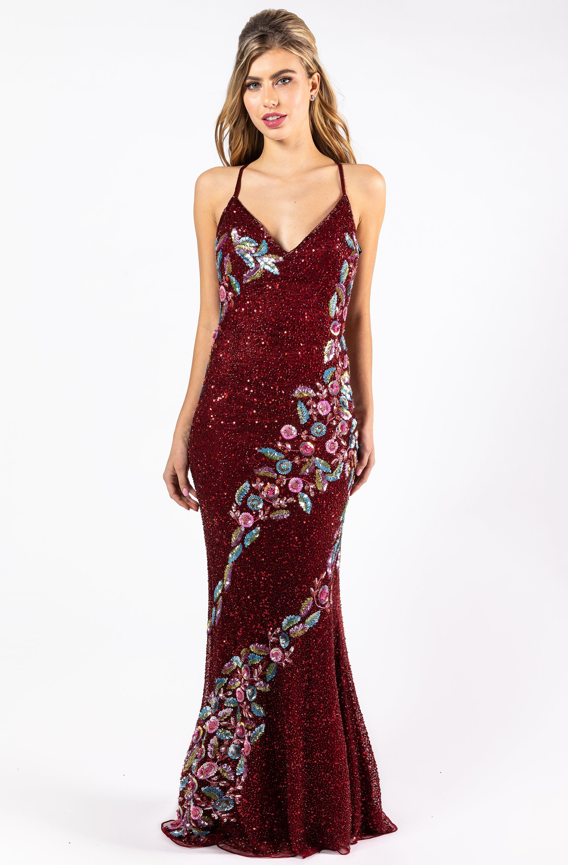 Primavera Couture - 3243 Vibrant Contrast Floral Beaded Gown In Red and Multi-Color