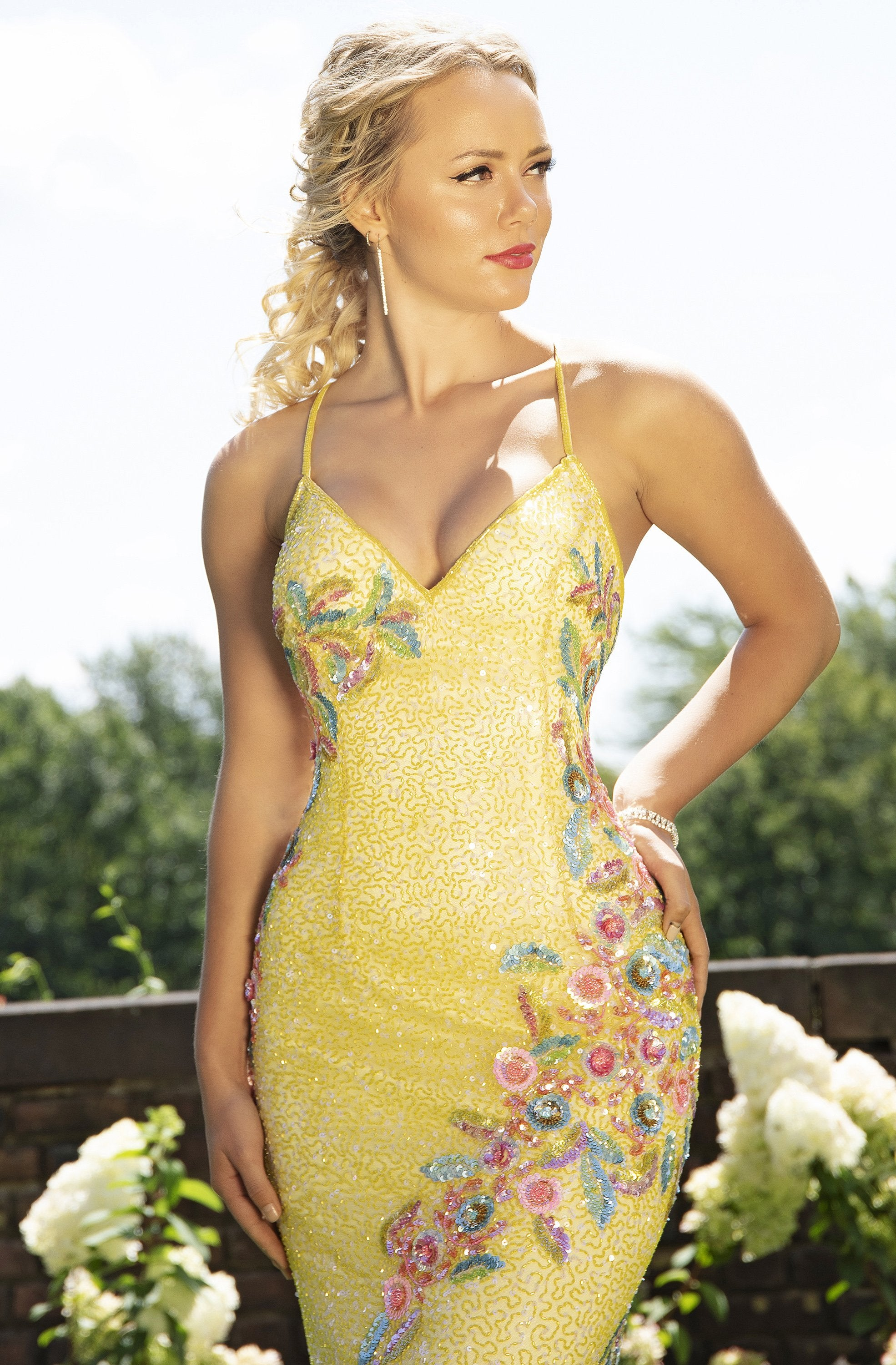 Primavera Couture - 3243 Vibrant Contrast Floral Beaded Gown In Yellow and Multi-Color