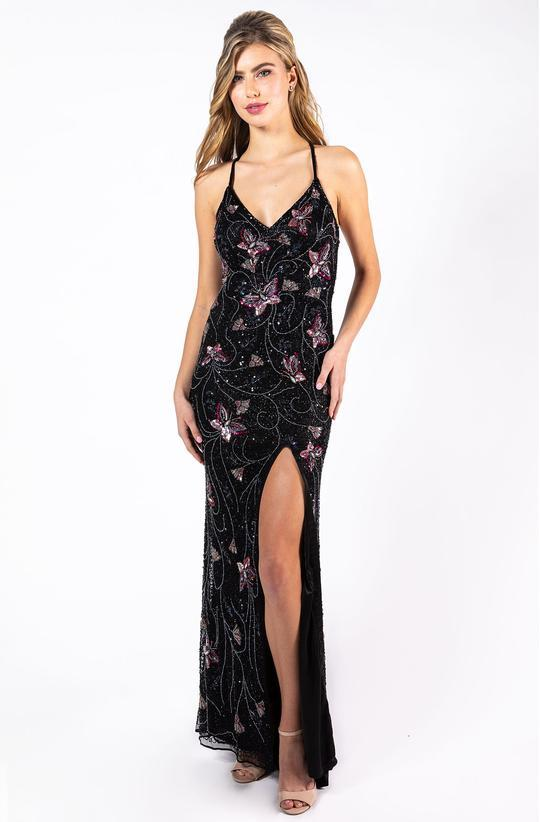 Primavera Couture - Beaded Butterfly Motif Dress with Slit 3258 In Black