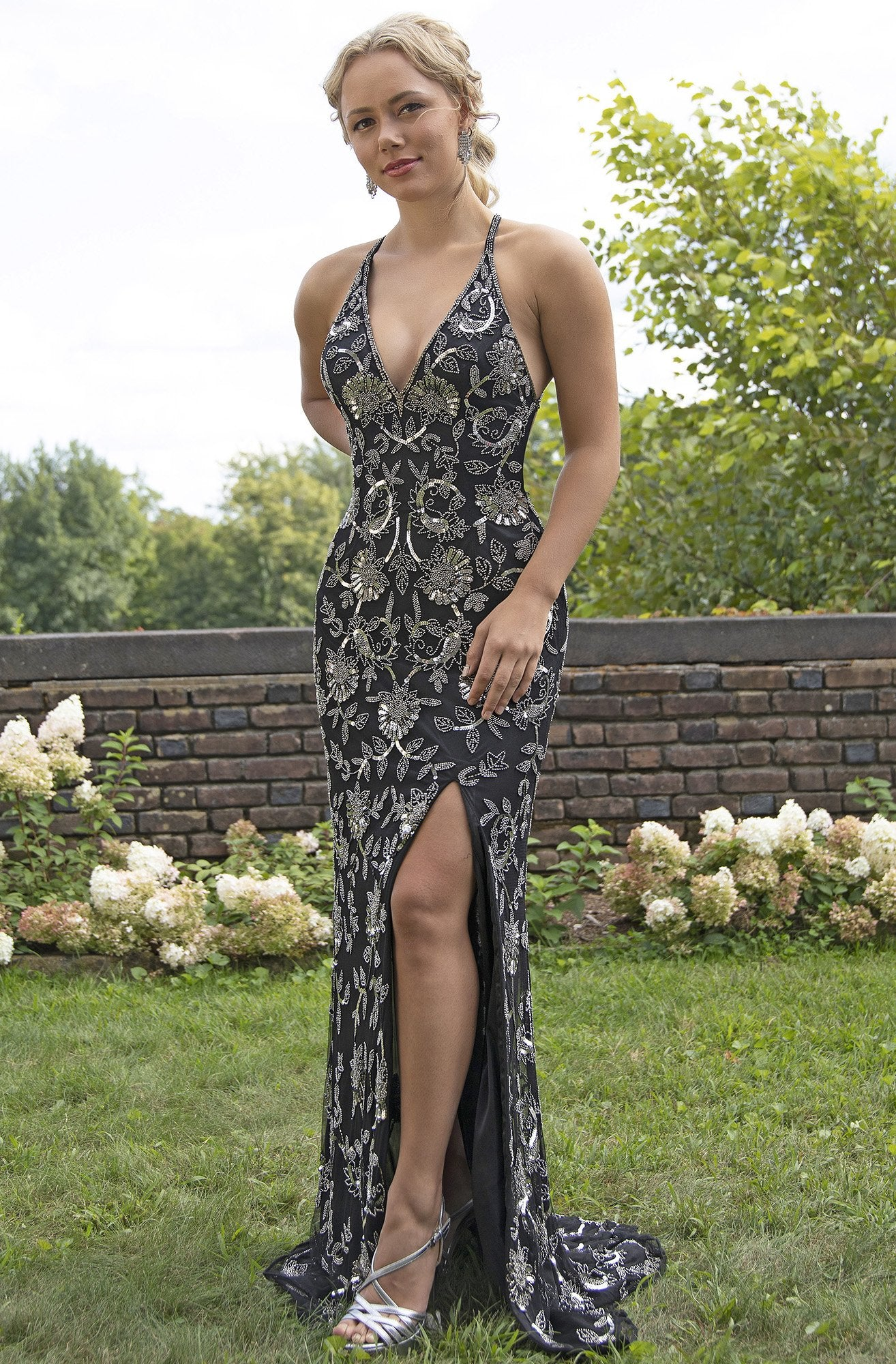 Primavera Couture - 3259 Stylistic Floral Beaded High Slit Gown In Black and Silver