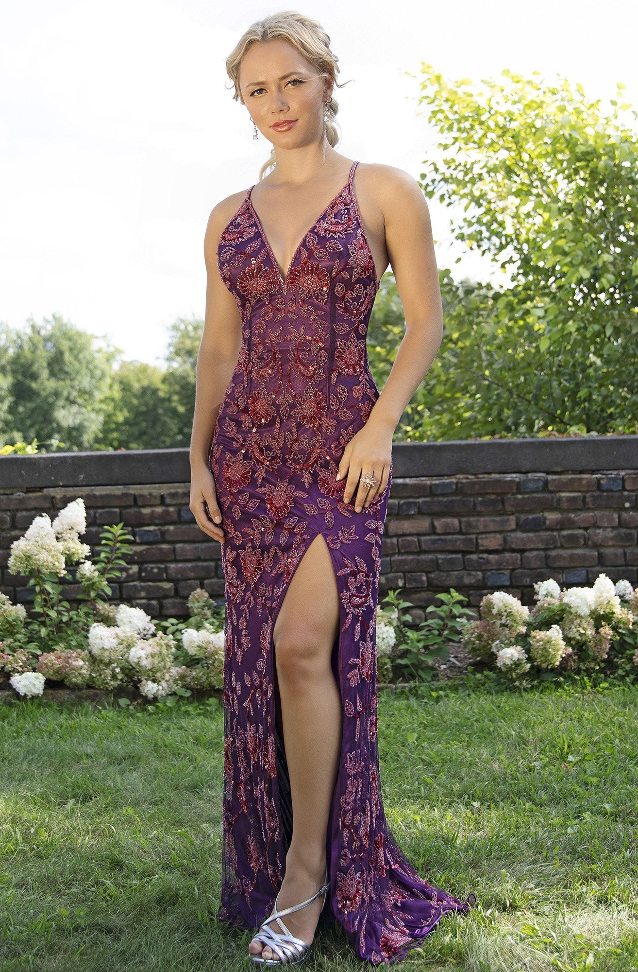 Primavera Couture - 3259 Stylistic Floral Beaded High Slit Gown In Purple
