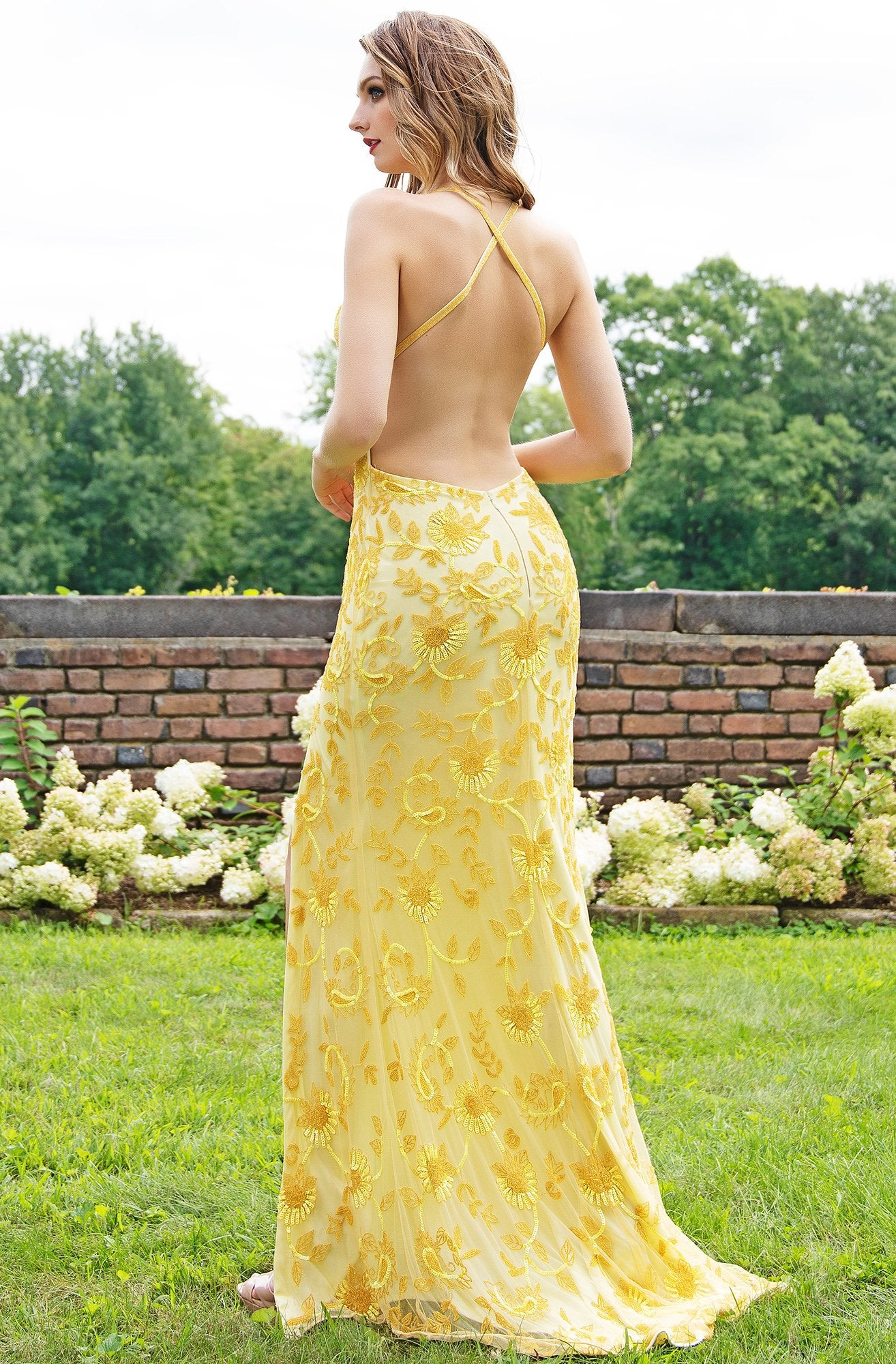 Primavera Couture - 3259 Stylistic Floral Beaded High Slit Gown In Yellow