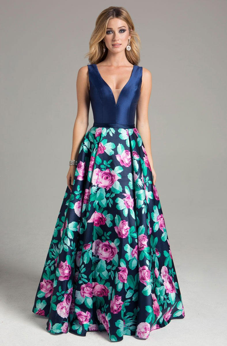 Lara Dresses - 32826 Floral Print Evening Gown - 1 pc Floral In Size 8 Available In Blue And Multi Color