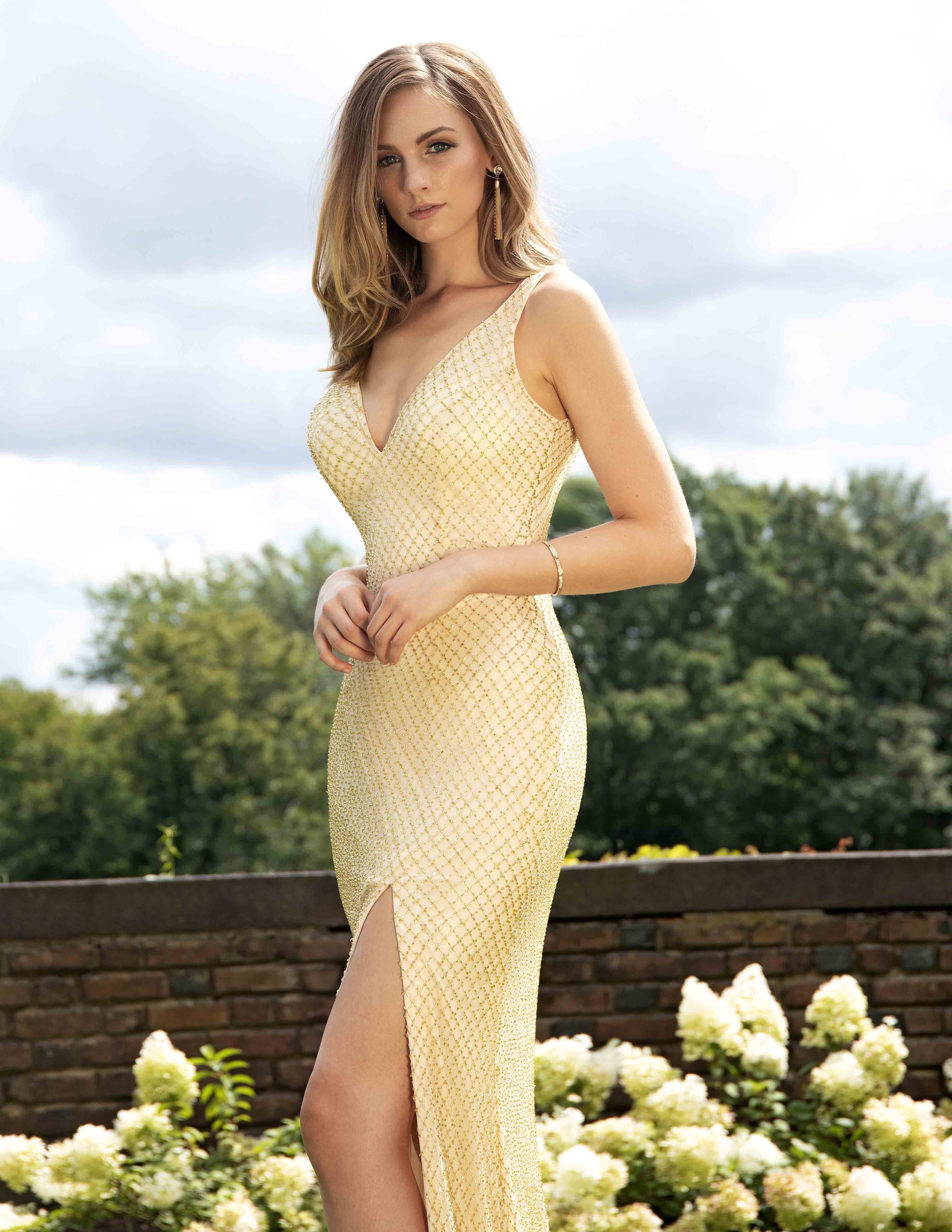 Primavera Couture - 3298 Embellished Deep Vneck Sheath Dress With Slit In Neutral and Gold