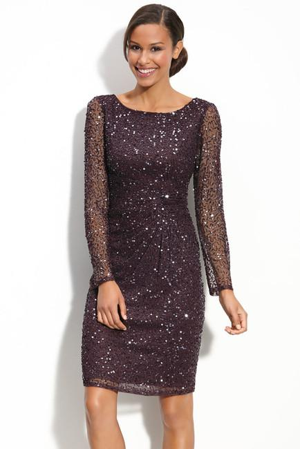 Patra - 11681 Beaded Sheer Long Sleeve Sheath Dress in Purple
